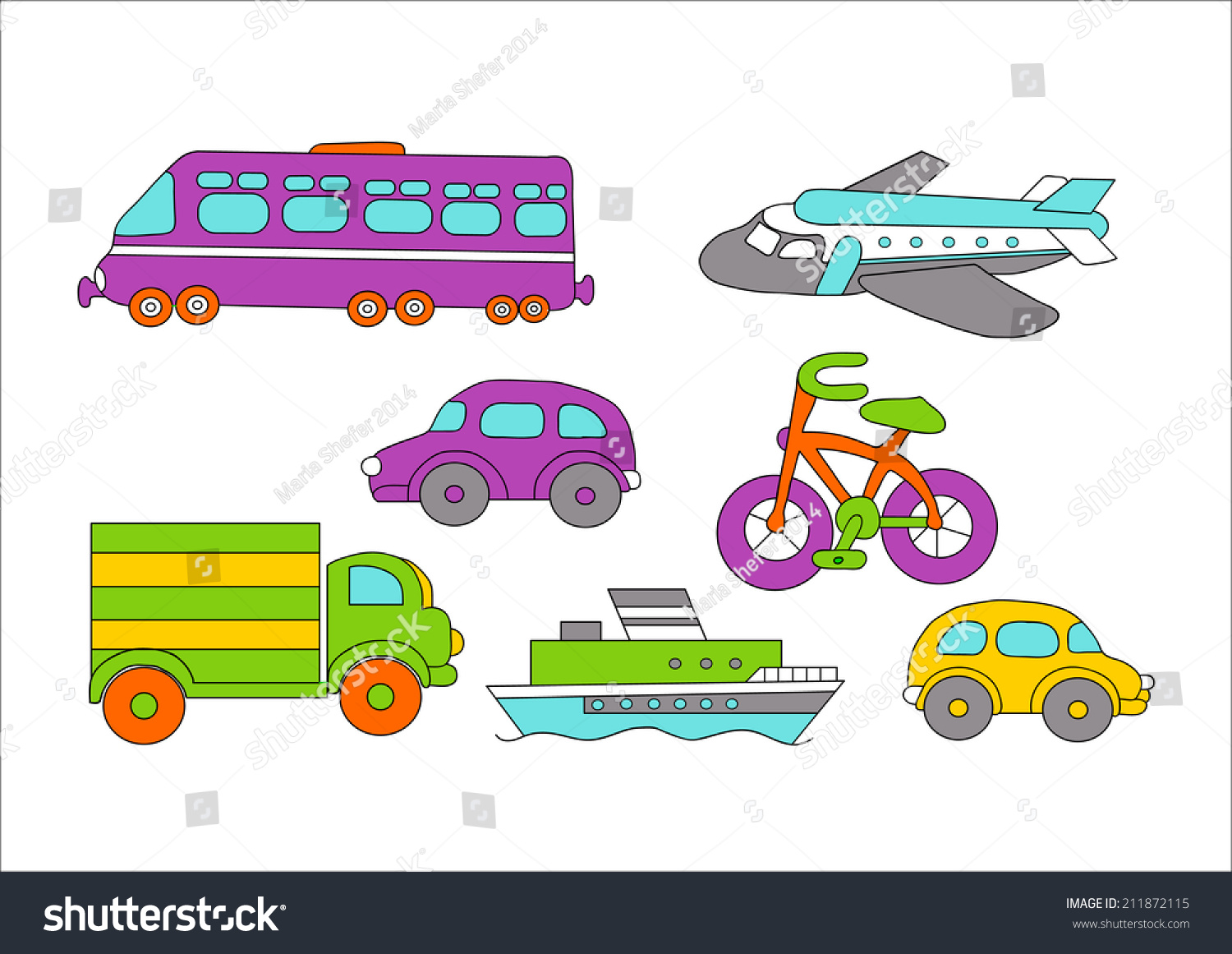 Various Transport By Land Air Water Stock Illustration