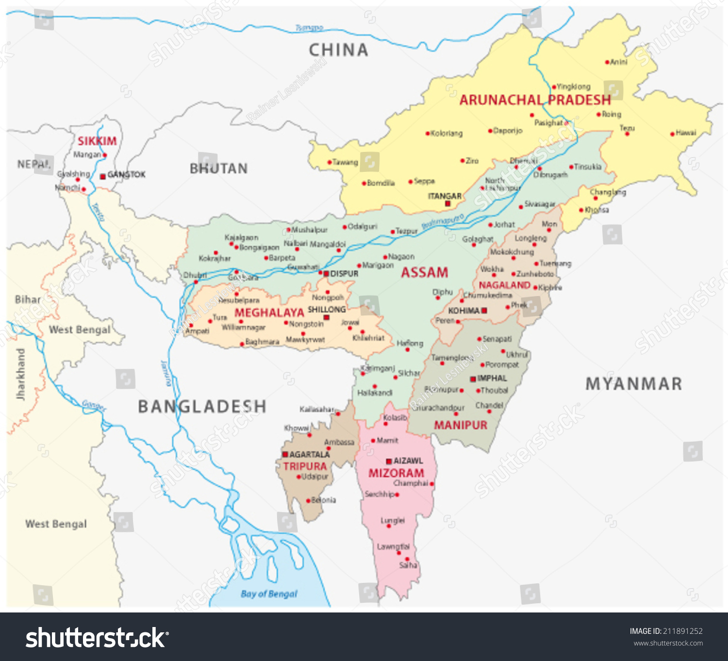 Northeast India Map Stock Vector Royalty Free 211891252 Shutterstock