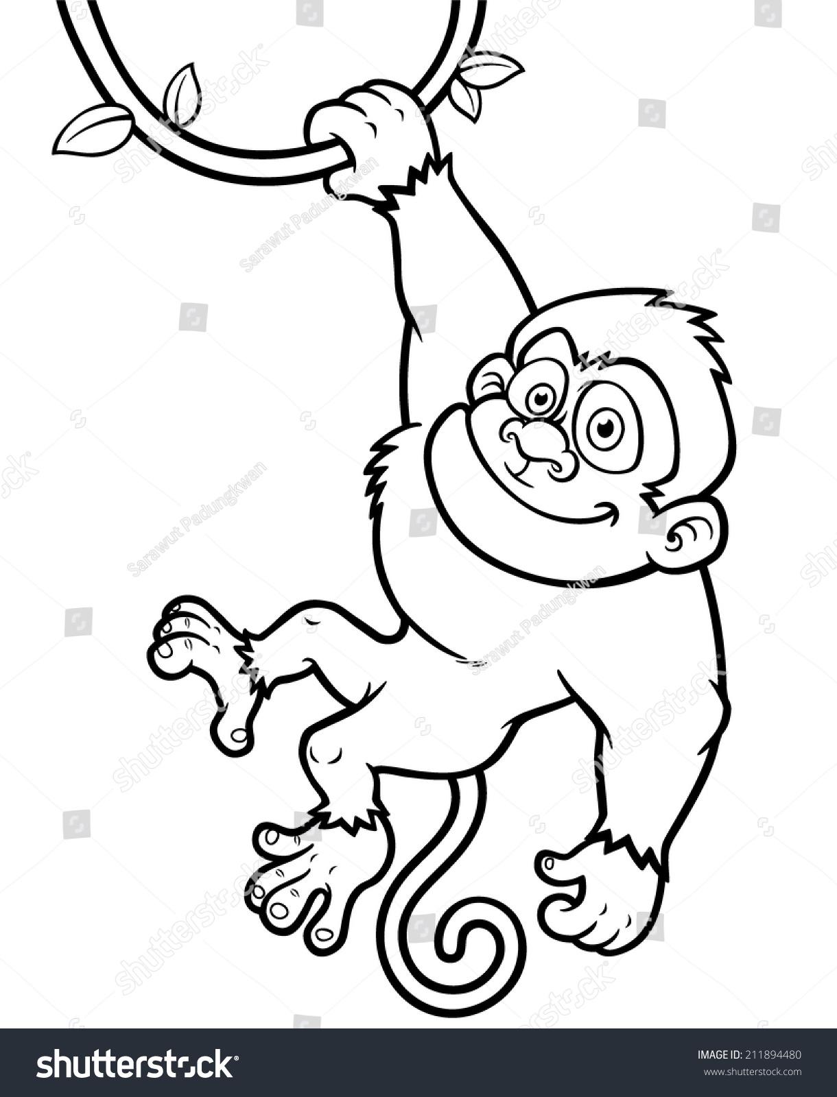 Vector Illustration of Cartoon Monkey - Coloring book | EZ Canvas