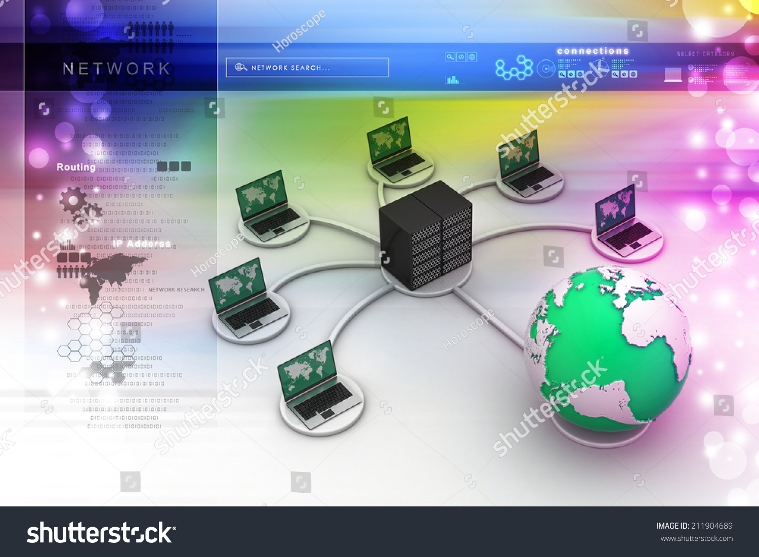 Royalty Free Stock Illustration Of Laptop Big Server Net Work Also Live Band Stage Setup Diagram Together With Firewall Illustrations Editorial Footage Music 3d Image