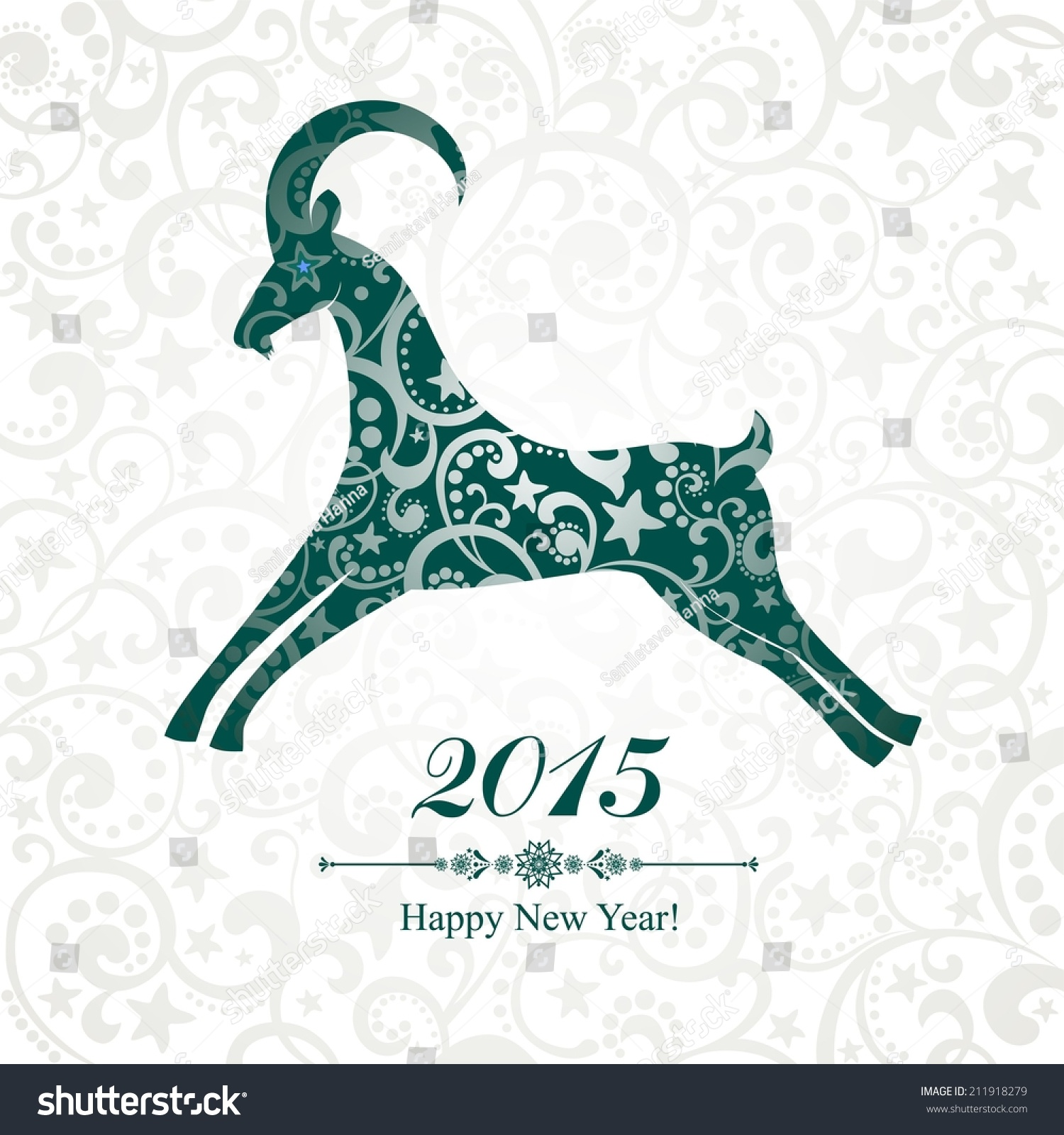 2015 New Year Card With Red Goat Vector Illustration Ez Canvas