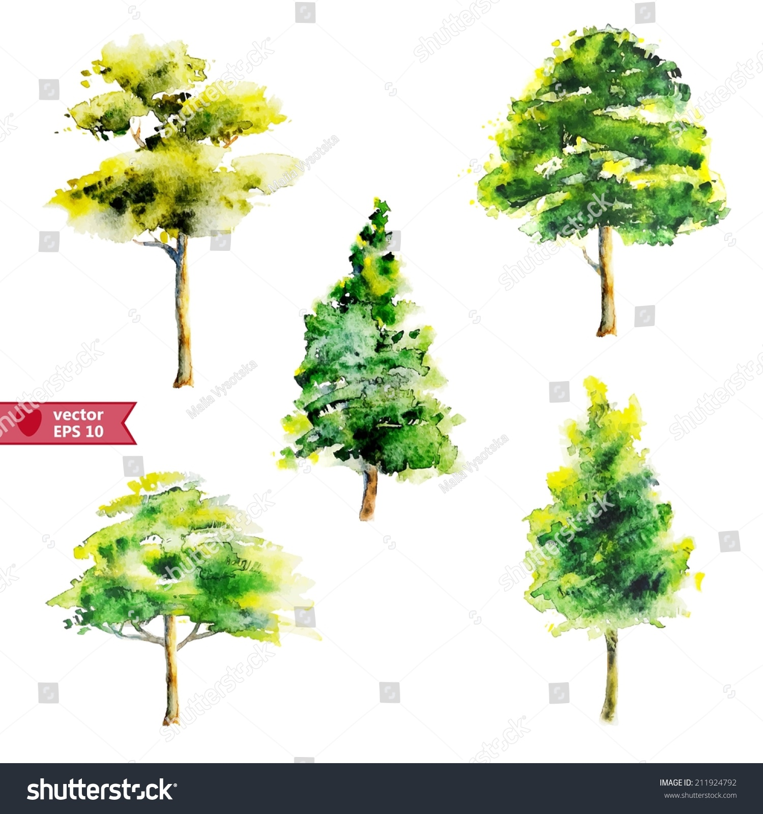 Hand Drawing By Water Color Vector Stock Vector 211924792 - Shutterstock