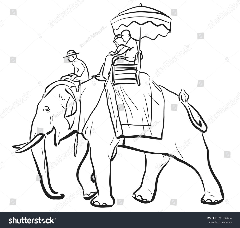 editable vector sketch tourists riding on stock vector 211932664