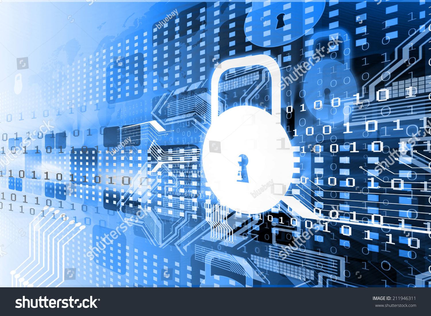 Cyber Security Concept Circuit Board Closed Stock Illustration ...