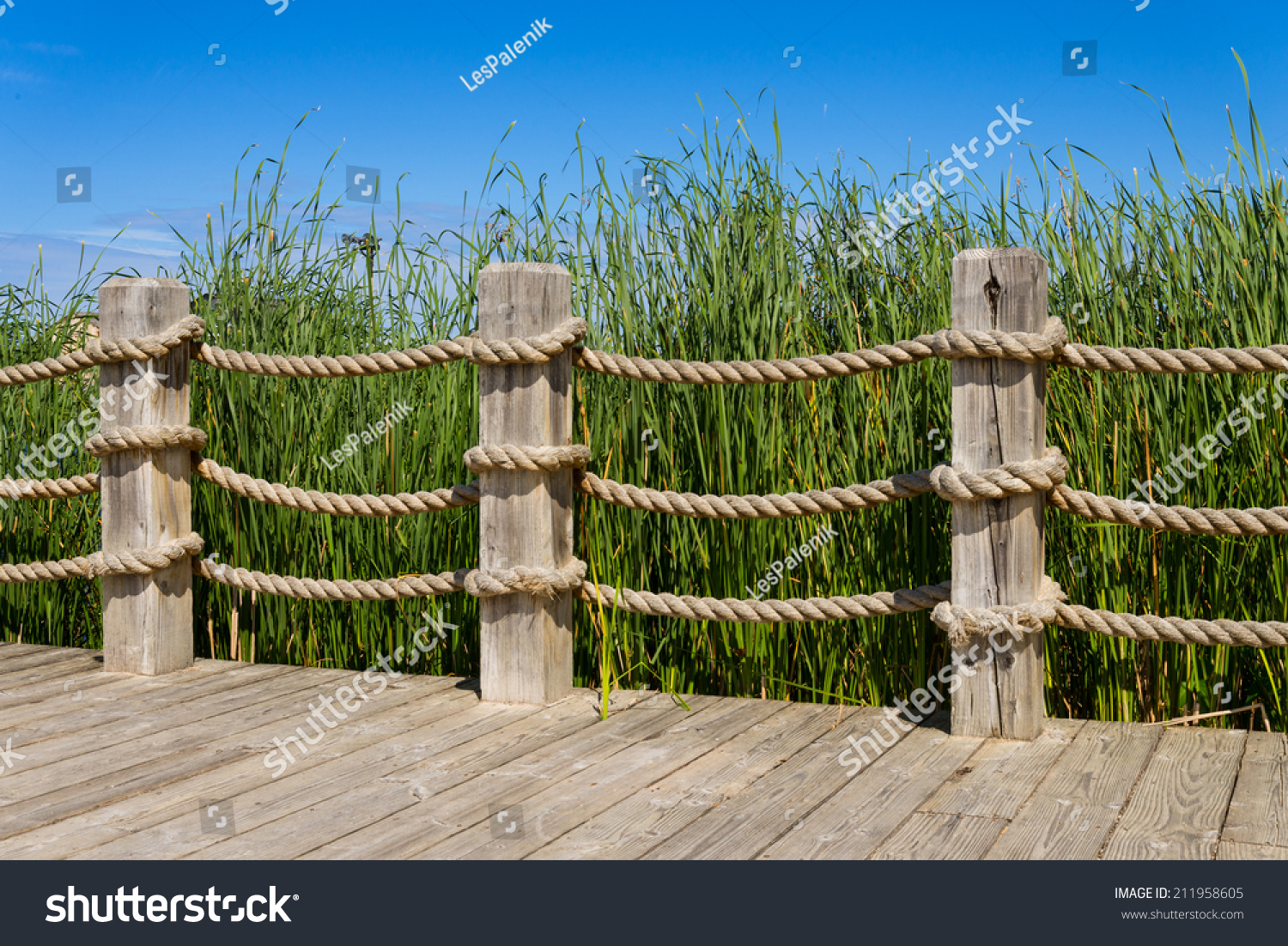 Rope Wooden Post Banister Railing Stock Photo 211958605