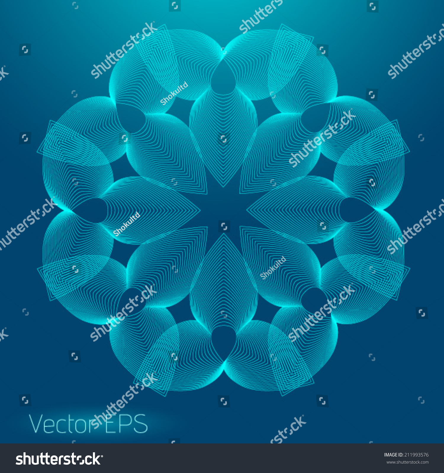 Digital Line Art : Abstract digital line art floral pattern stock vector