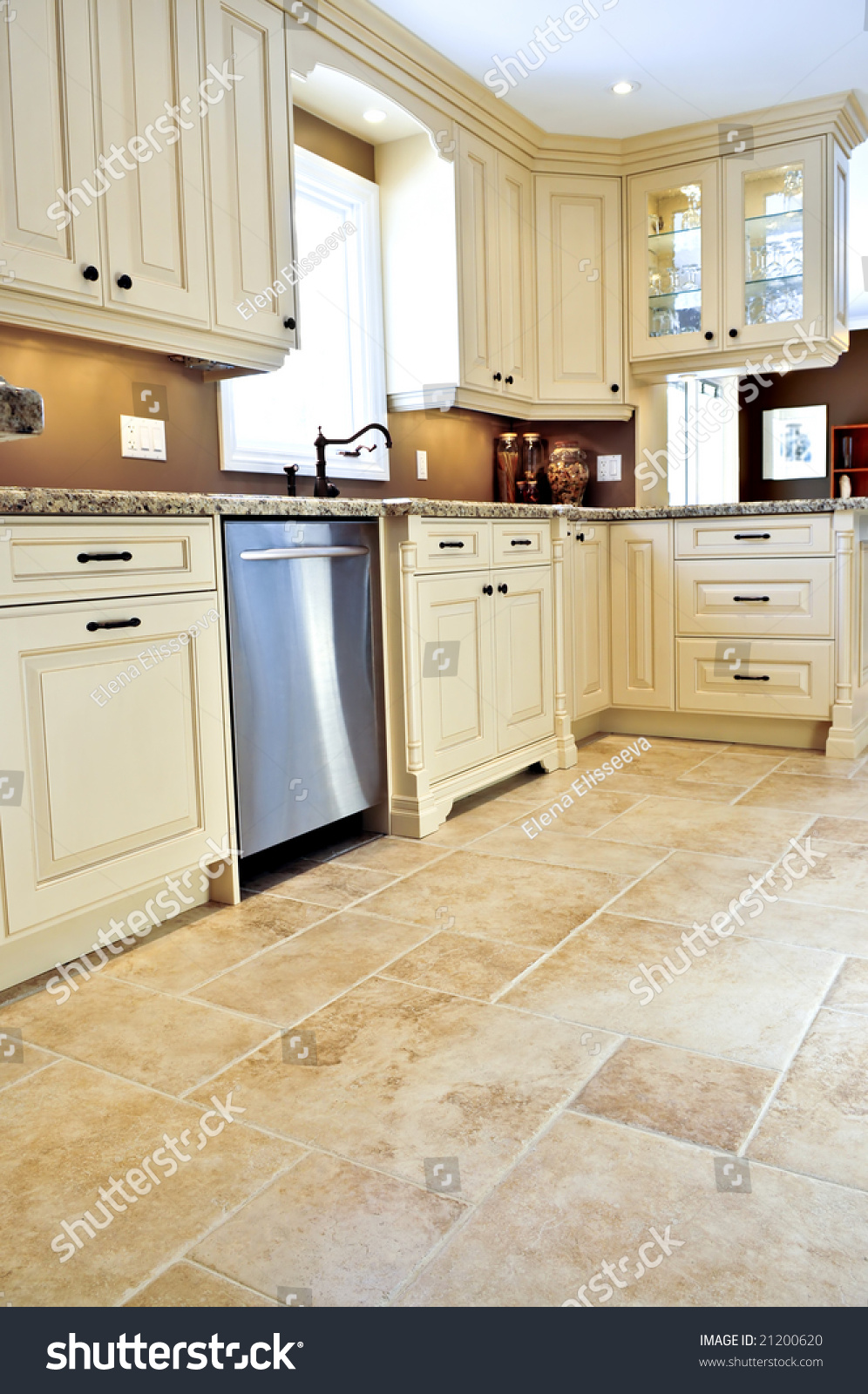 Ceramic tile floor modern luxury kitchen stock photo Luxury kitchen flooring