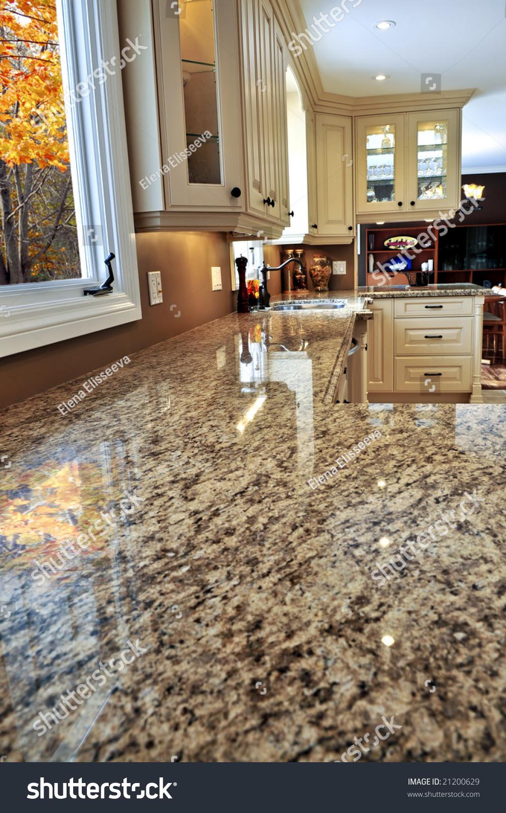 Modern luxury kitchen interior with granite countertop stock photo 21200629 shutterstock - Modern luxury kitchen with granite countertop ...