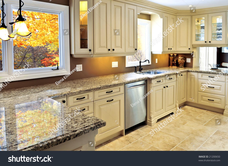 Modern luxury kitchen interior with granite countertop stock photo 21200650 shutterstock - Modern luxury kitchen with granite countertop ...