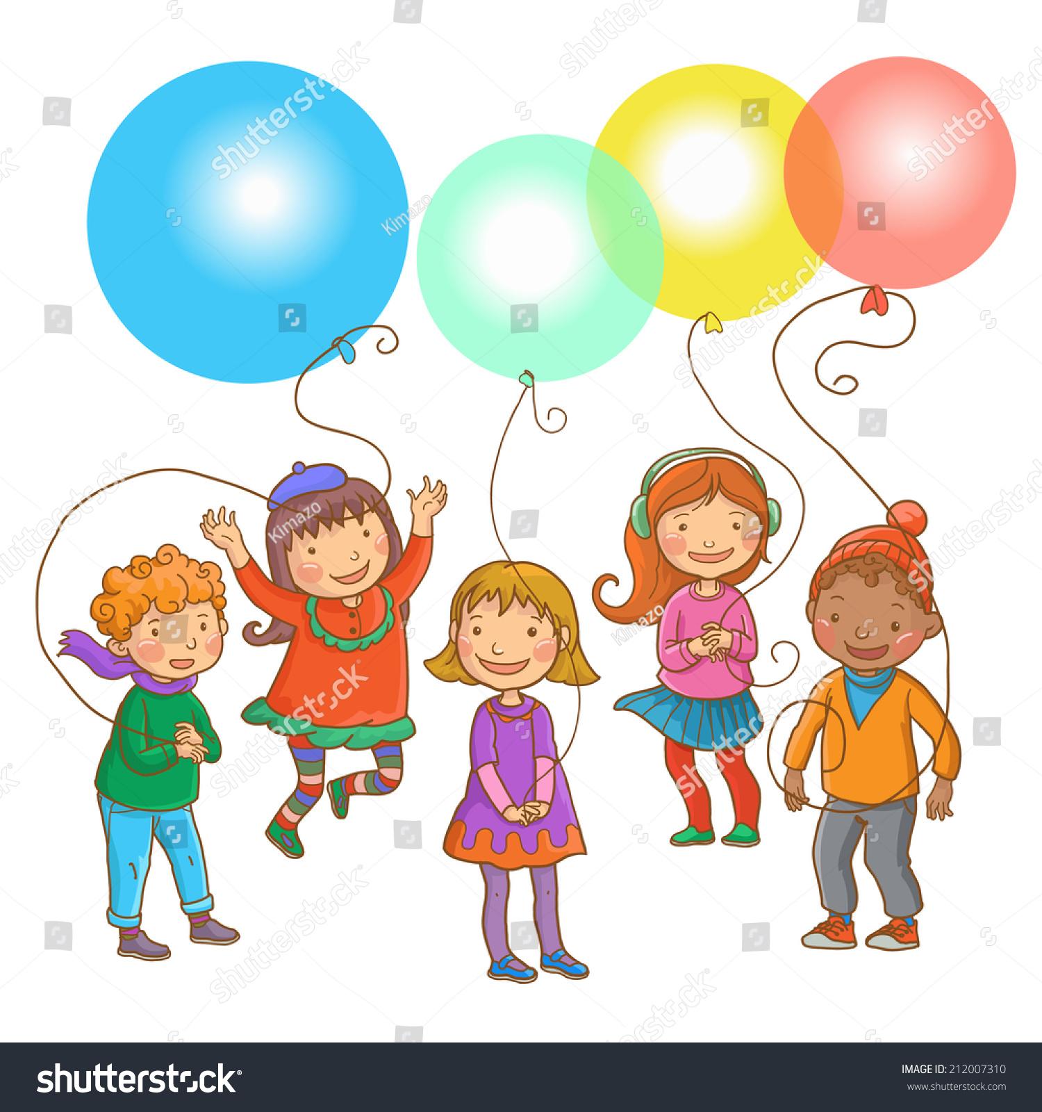 five happy children balloons back stock vector 212007310
