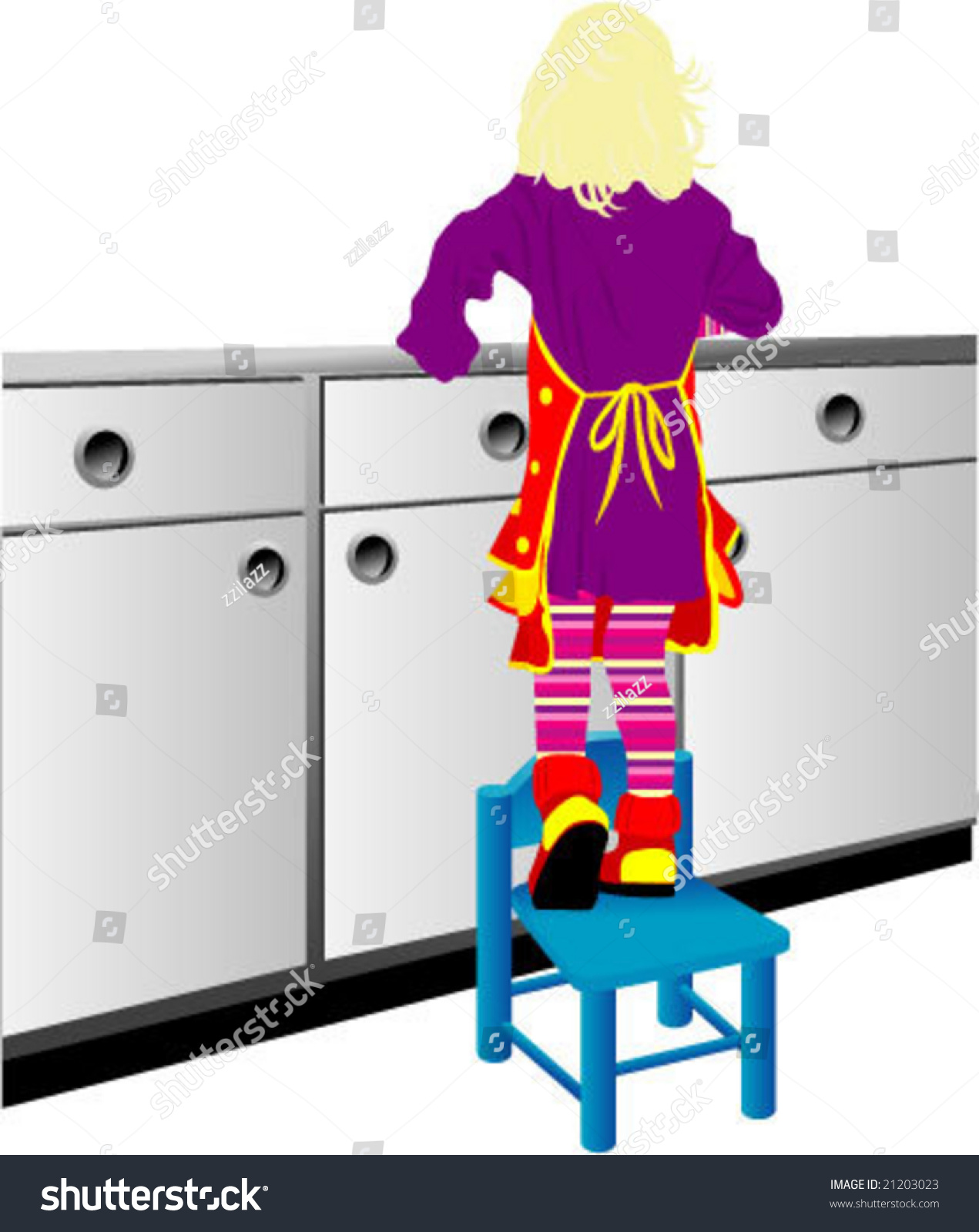 Little Girl Standing Chair She Stock Vector Shutterstock