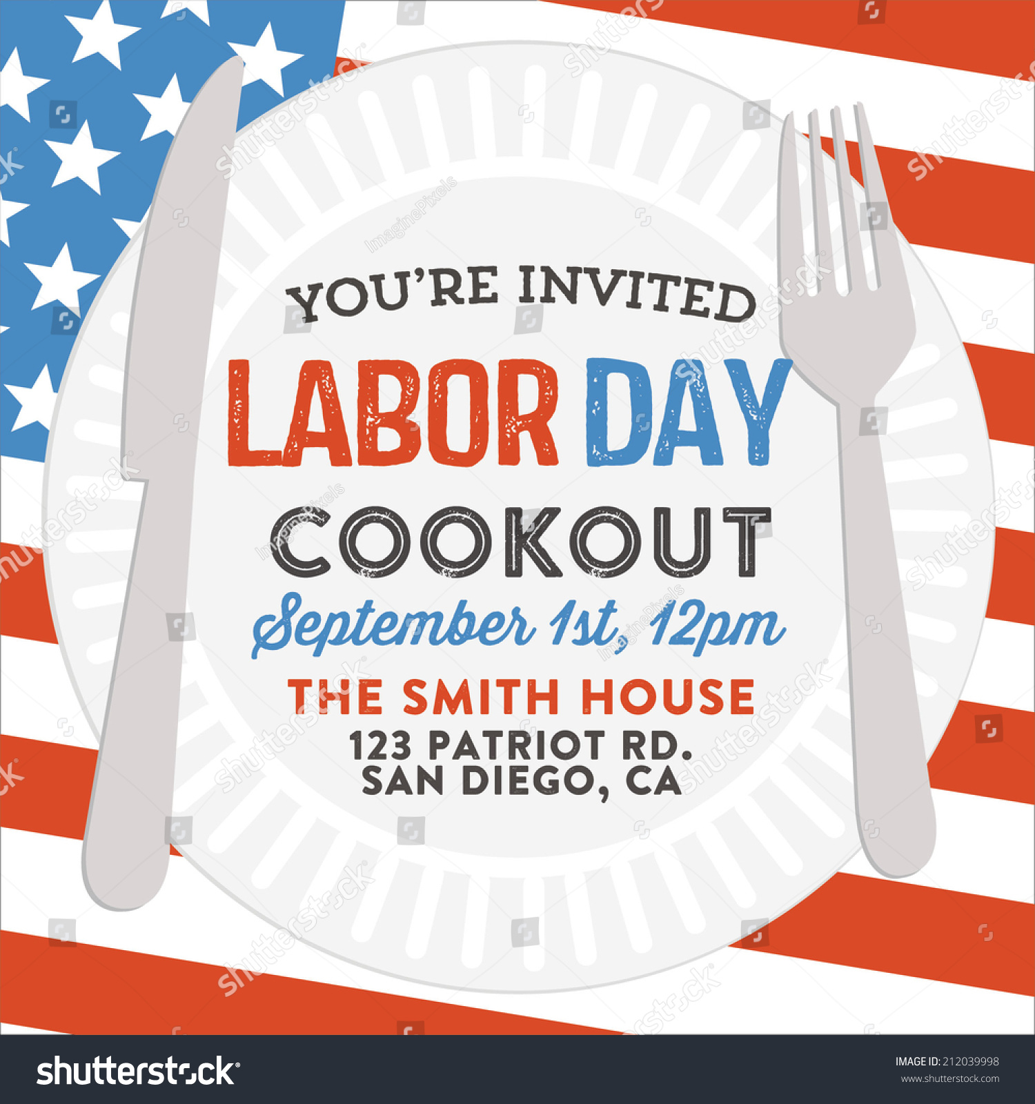 Happy labor day cookout invitation american stock vector 212039998 happy labor day cookout invitation american holiday picnic barbecue flag invite vector kristyandbryce Image collections