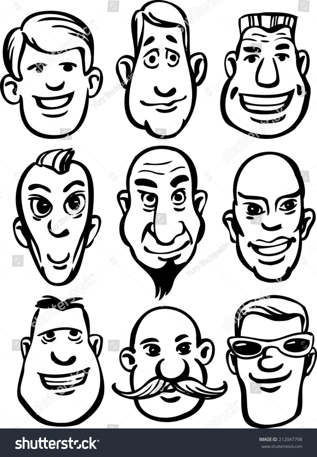 Whiteboard drawing cartoon men faces