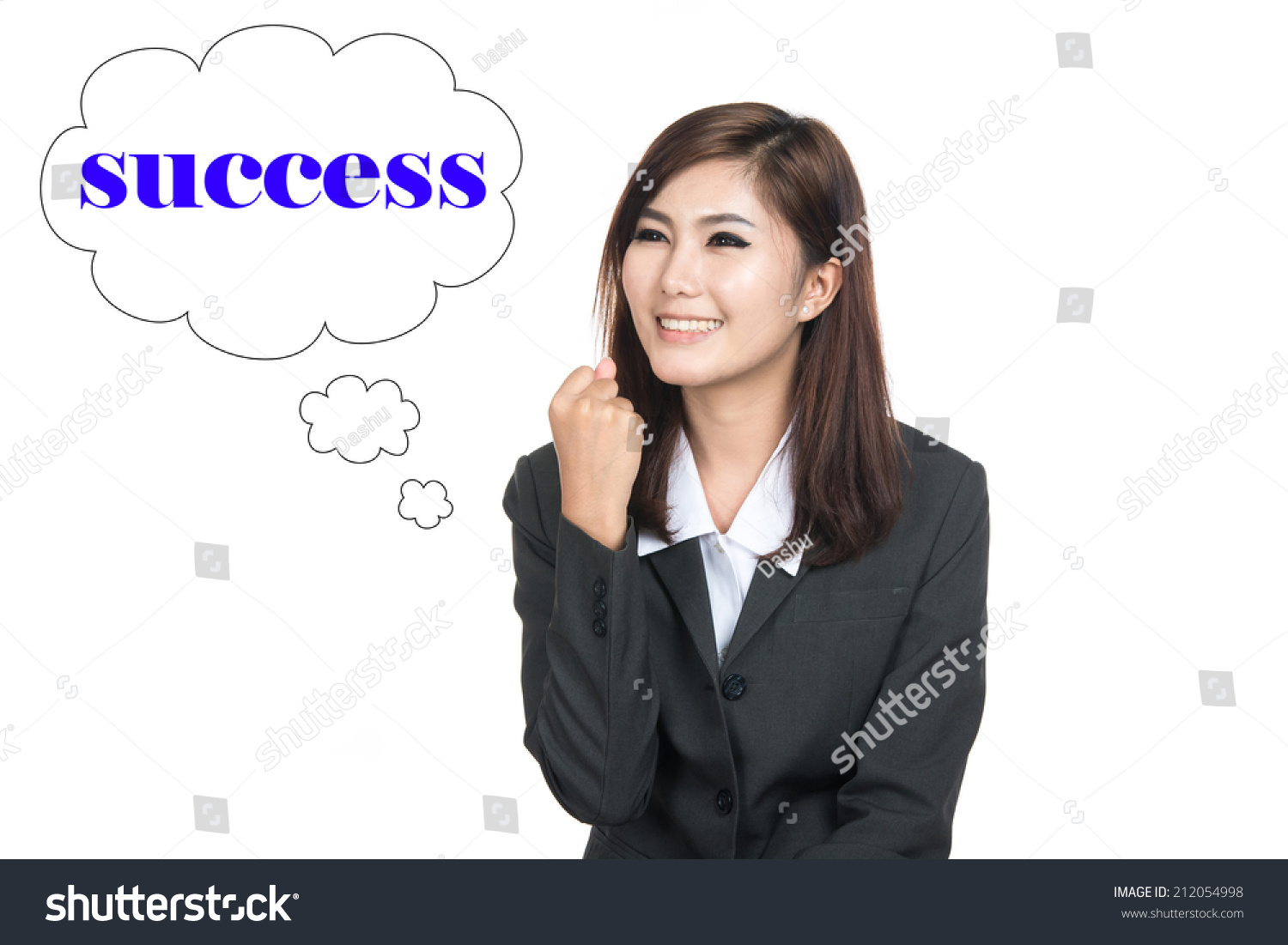 thinking success w looking up on speech bubble thai girl save to a lightbox