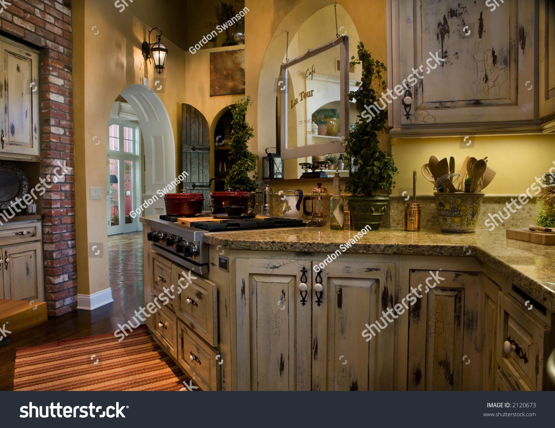 Old World Kitchen Newly Remodeled Kitchen Old World Style Stock Photo 2120673