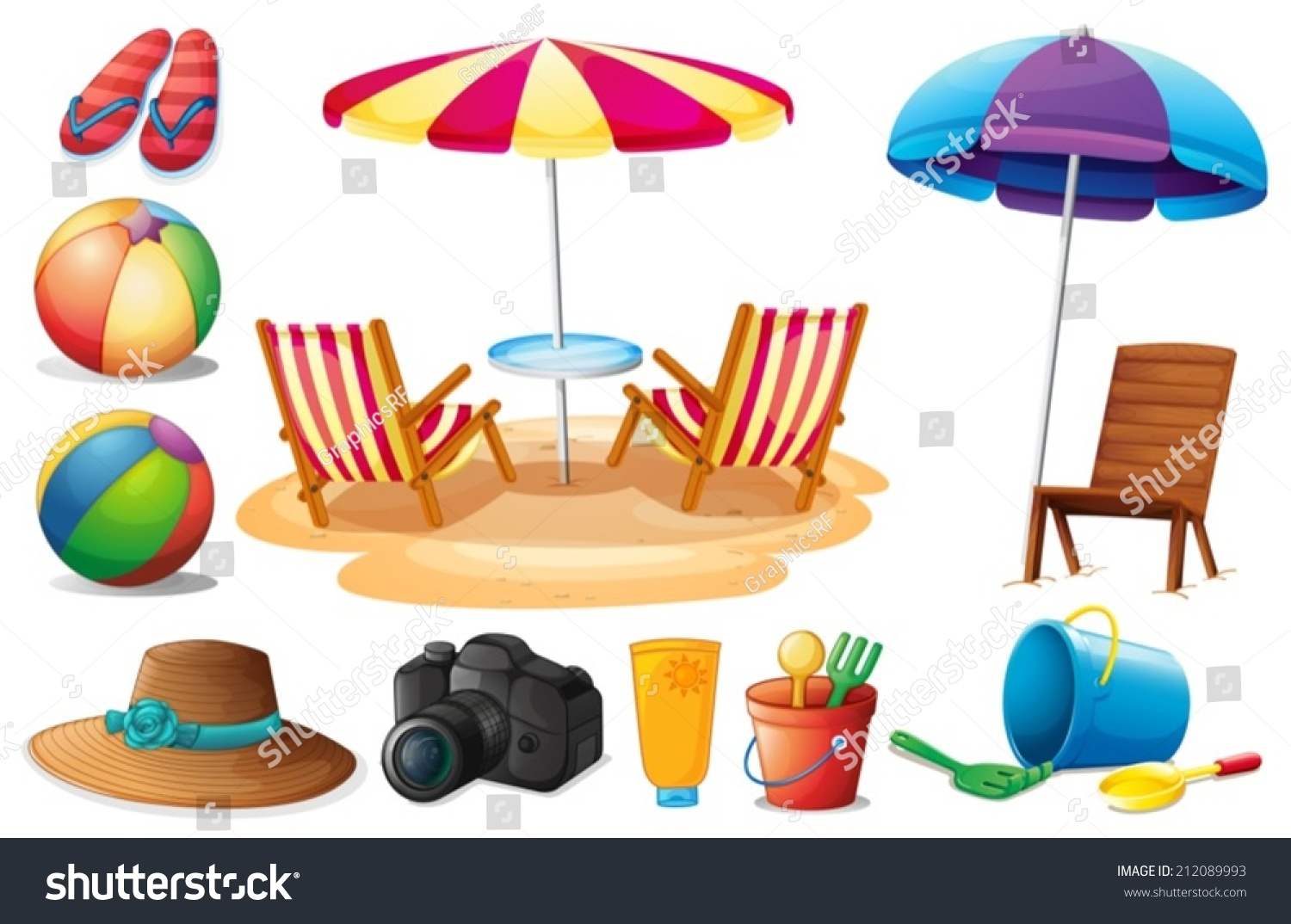 Illustration Things Found Beach During Summer Stock Vector