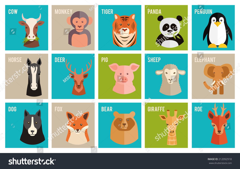 set colorful named cartoon icons animals stock illustration