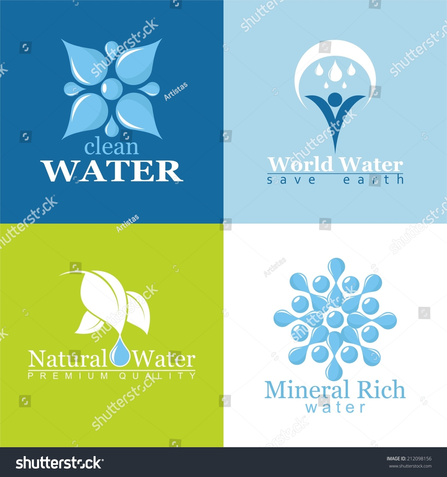 Set of icons for all types of water signs and symbols for All types of water