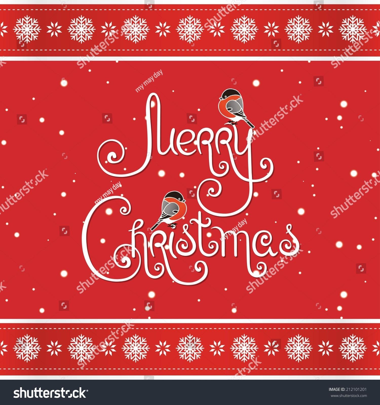 Merry Christmas Greeting Card Handwritten Words Stock Vector
