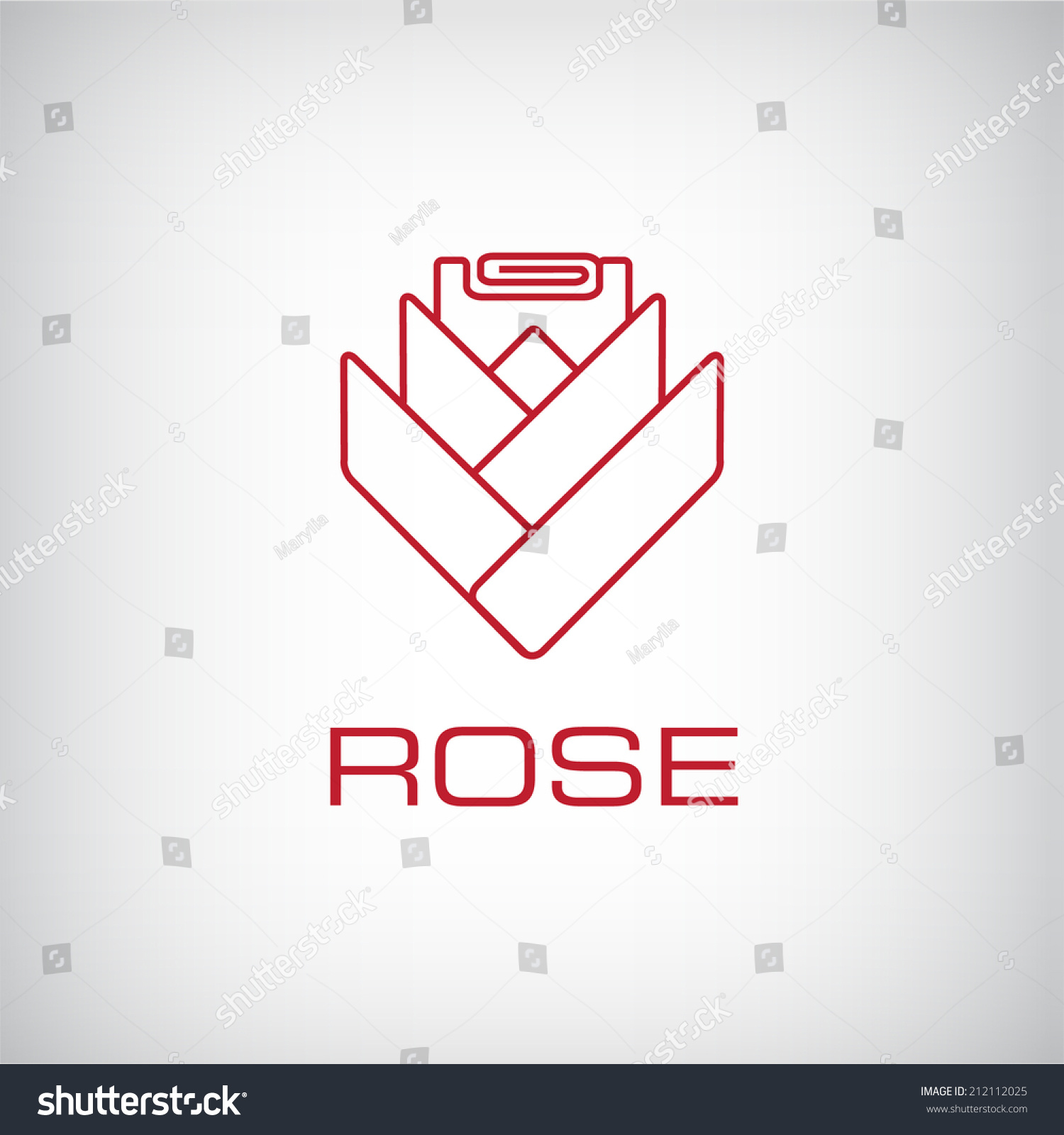 Vector Rose Flower Outline Icon Logo Stock Royalty Free Diagram Isolated