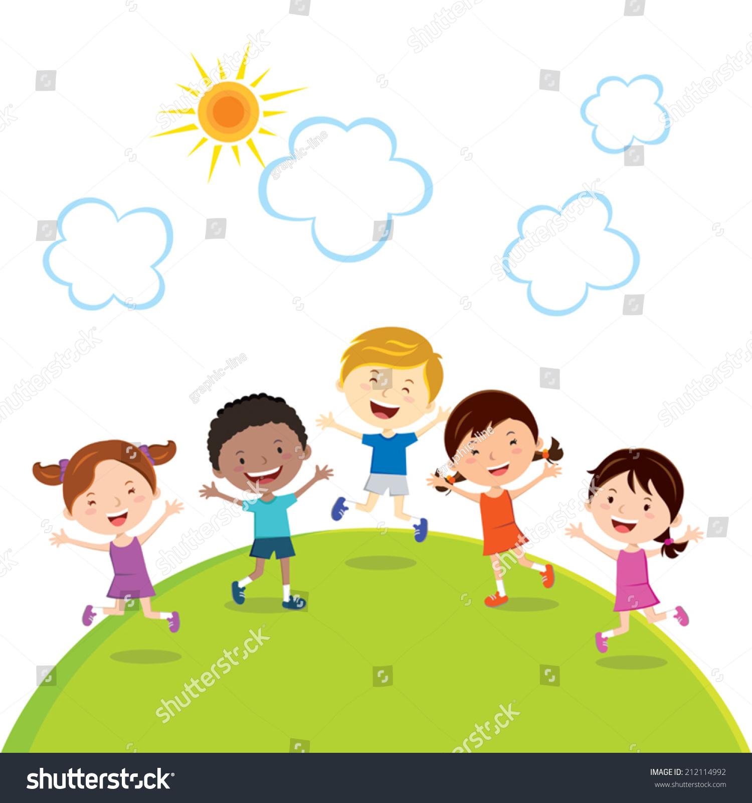 jumping kids friends children fun sun のベクター画像素材