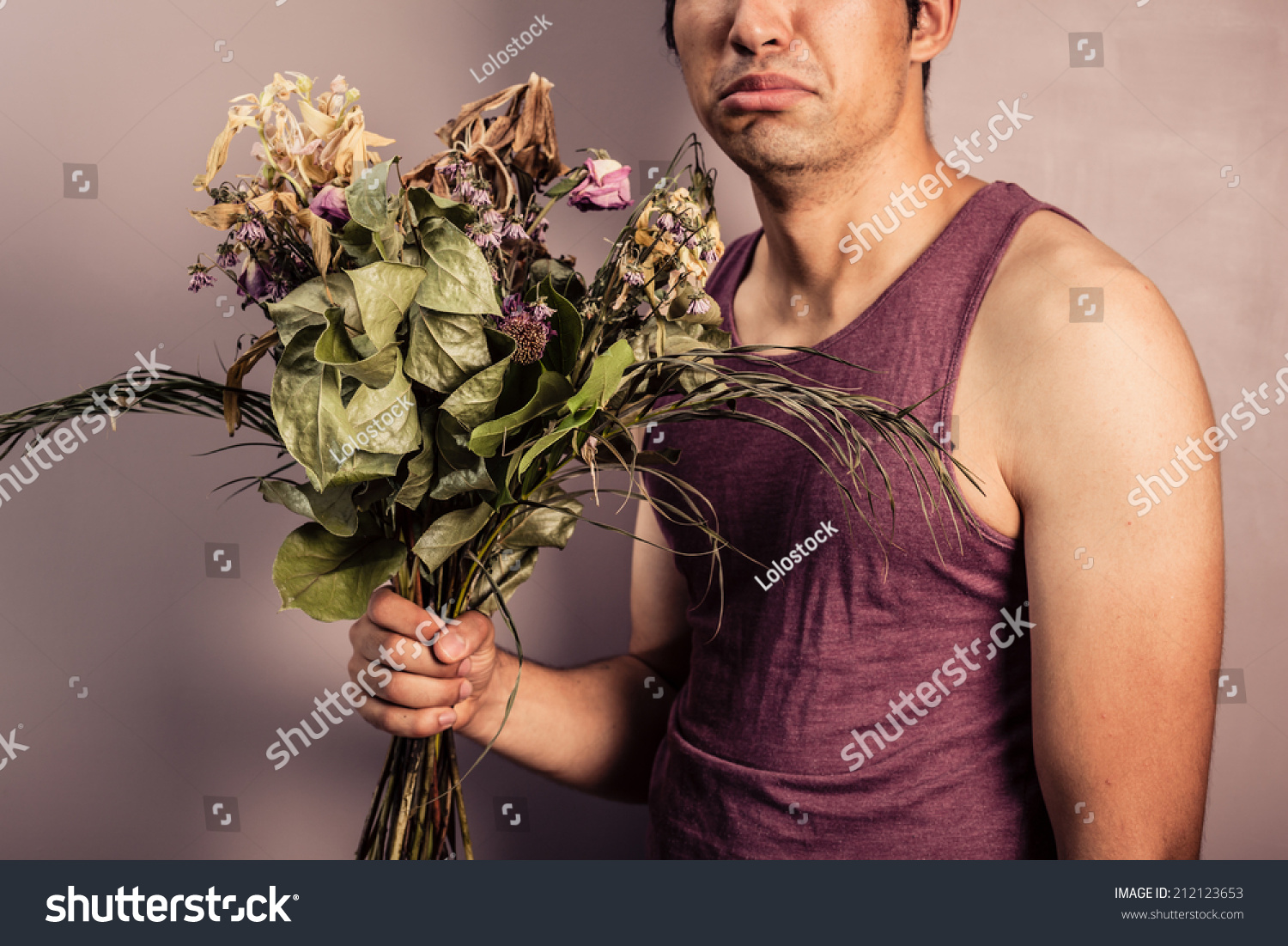 Sad Young Man Holding Bouquet Dead Stock Photo Edit Now 212123653