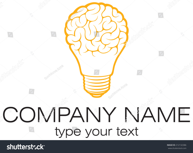 Light Bulb Idea With Brain Vector Logo Template. Corporate Icon Such As  Logotype. Creative