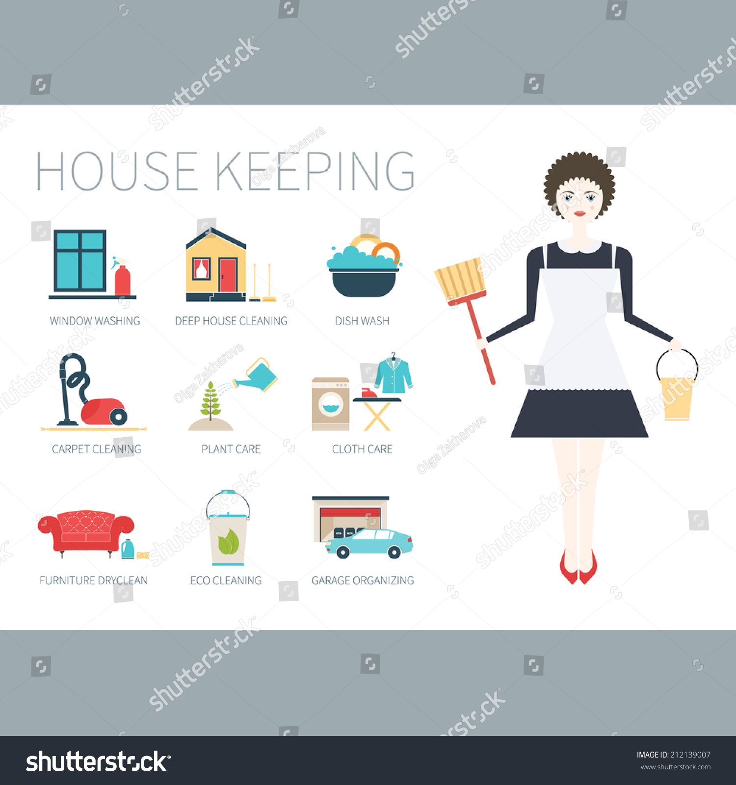 illustration young women doing house work stock vector 212139007 illustration of a young women doing house work different housekeeping icons made in modern flat
