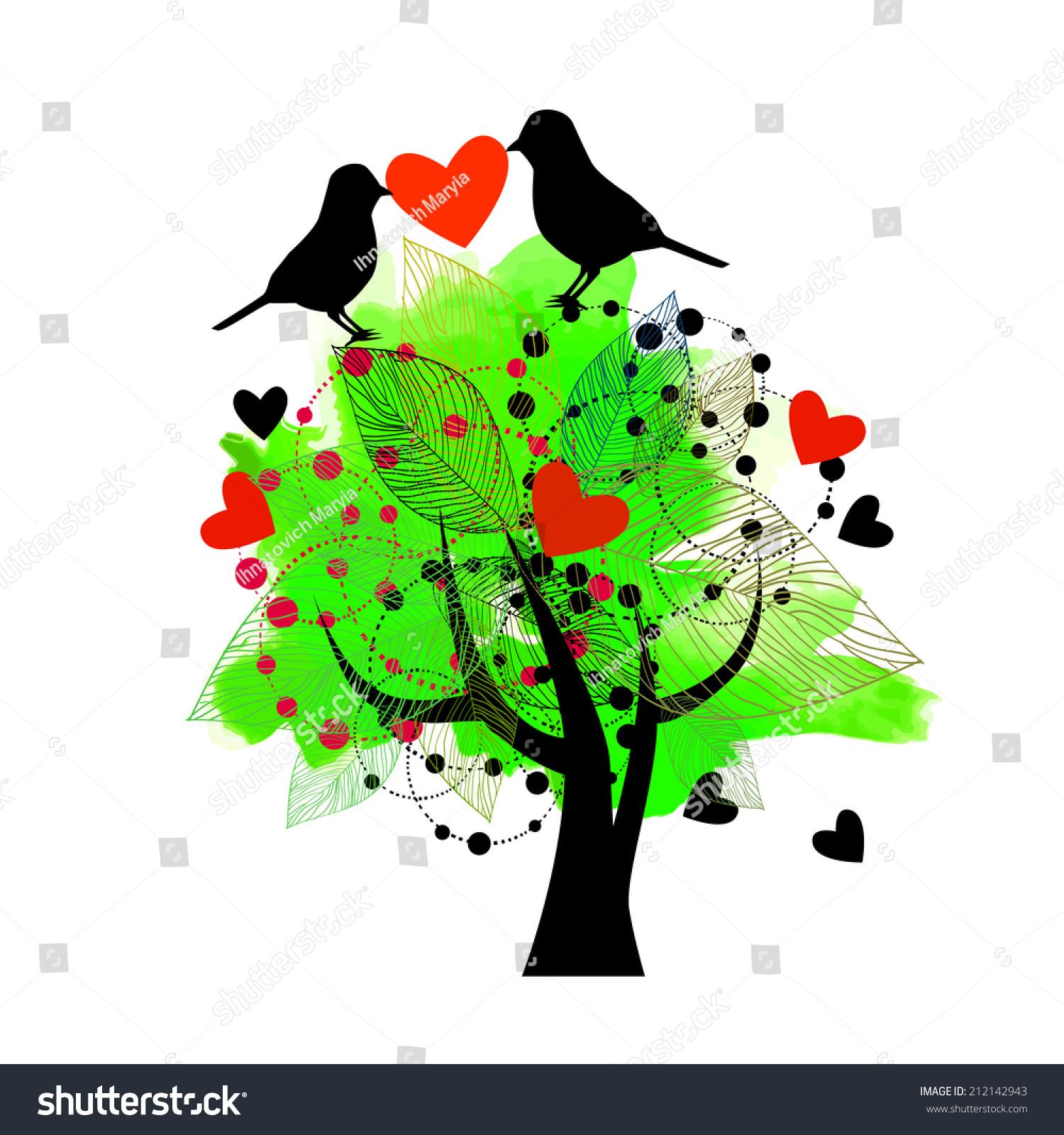 Beautiful Tree Flowers Birds Love Message Stock Illustration