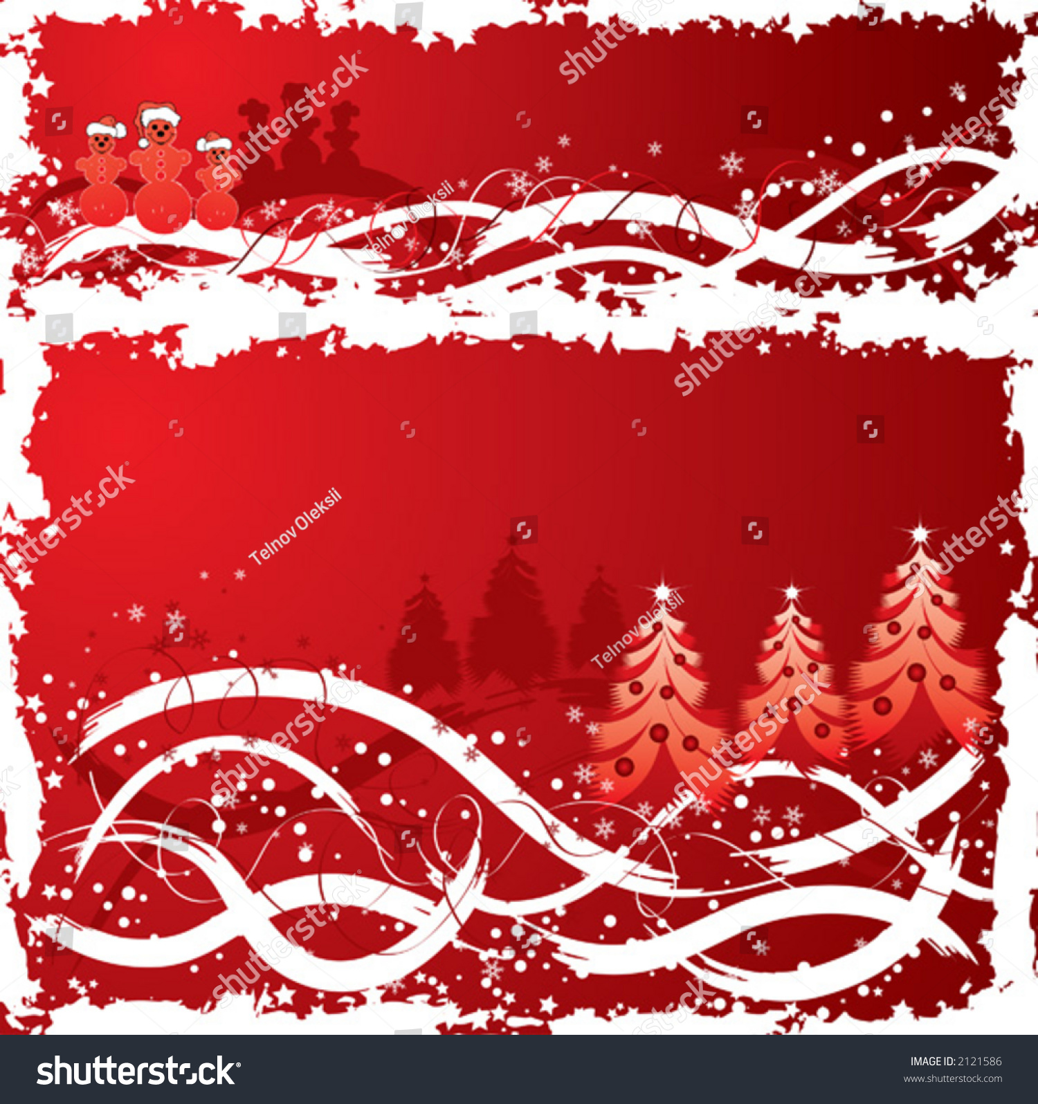 Christmas grunge background snowman tree stock
