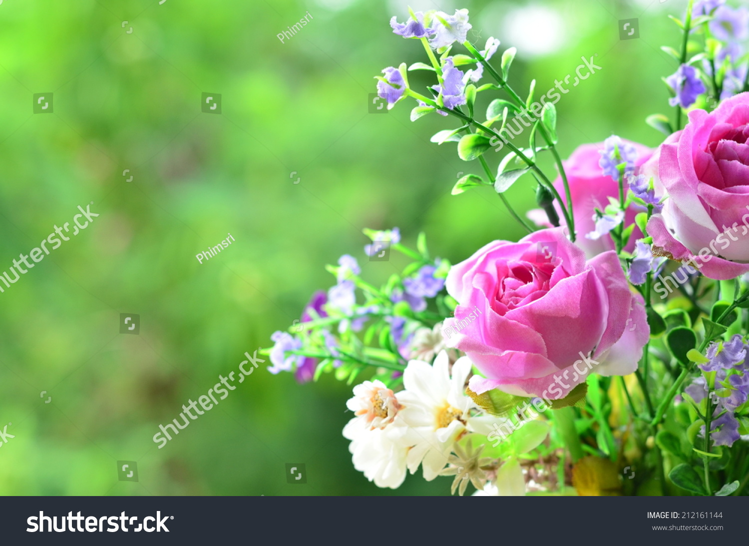 Good morning with bouquet of flowers Stock Photo 212161144