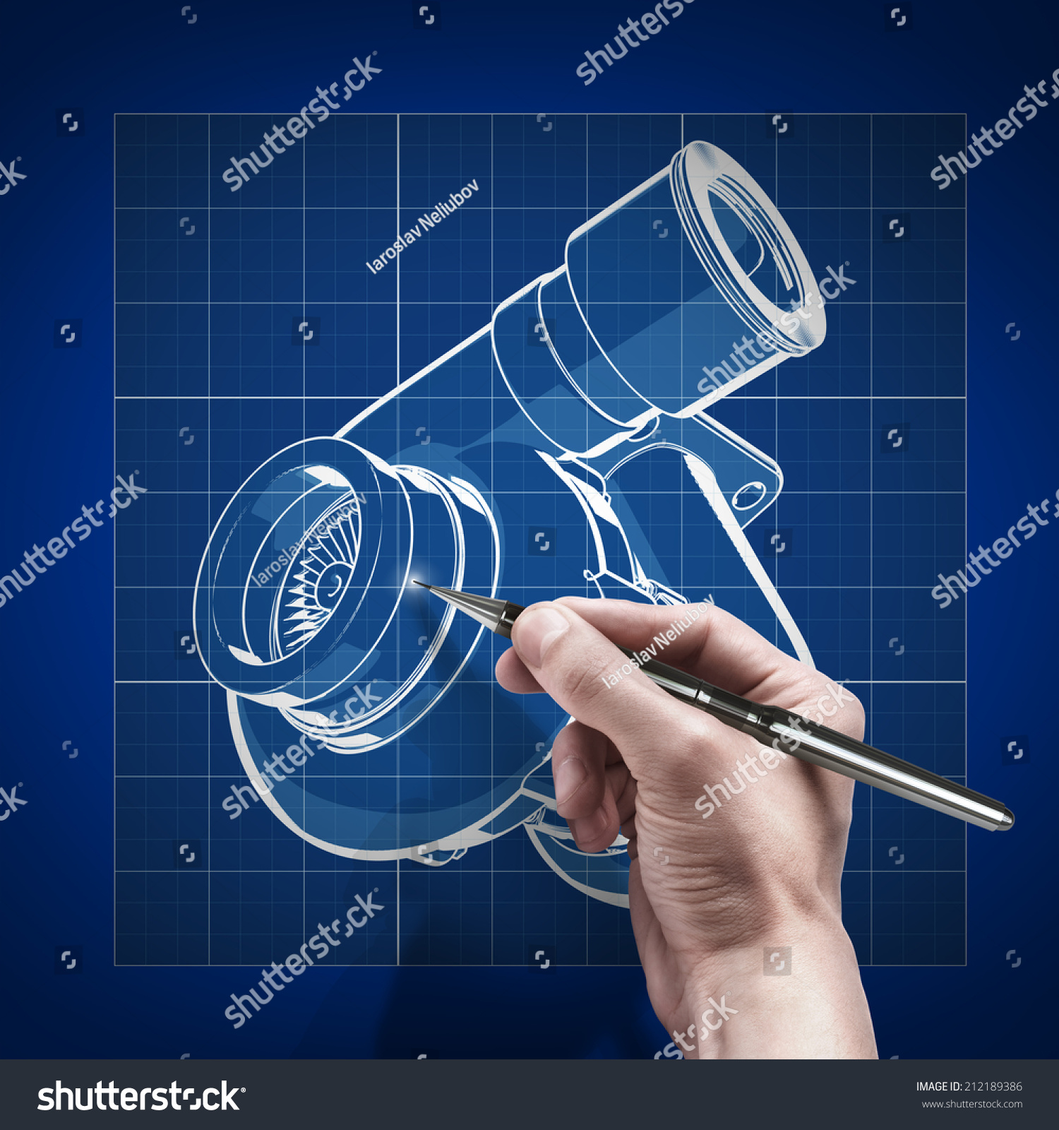 Male Hand With Pen Blueprint Engineer Working On Blue Print Concept Turbocharger Cad Stock