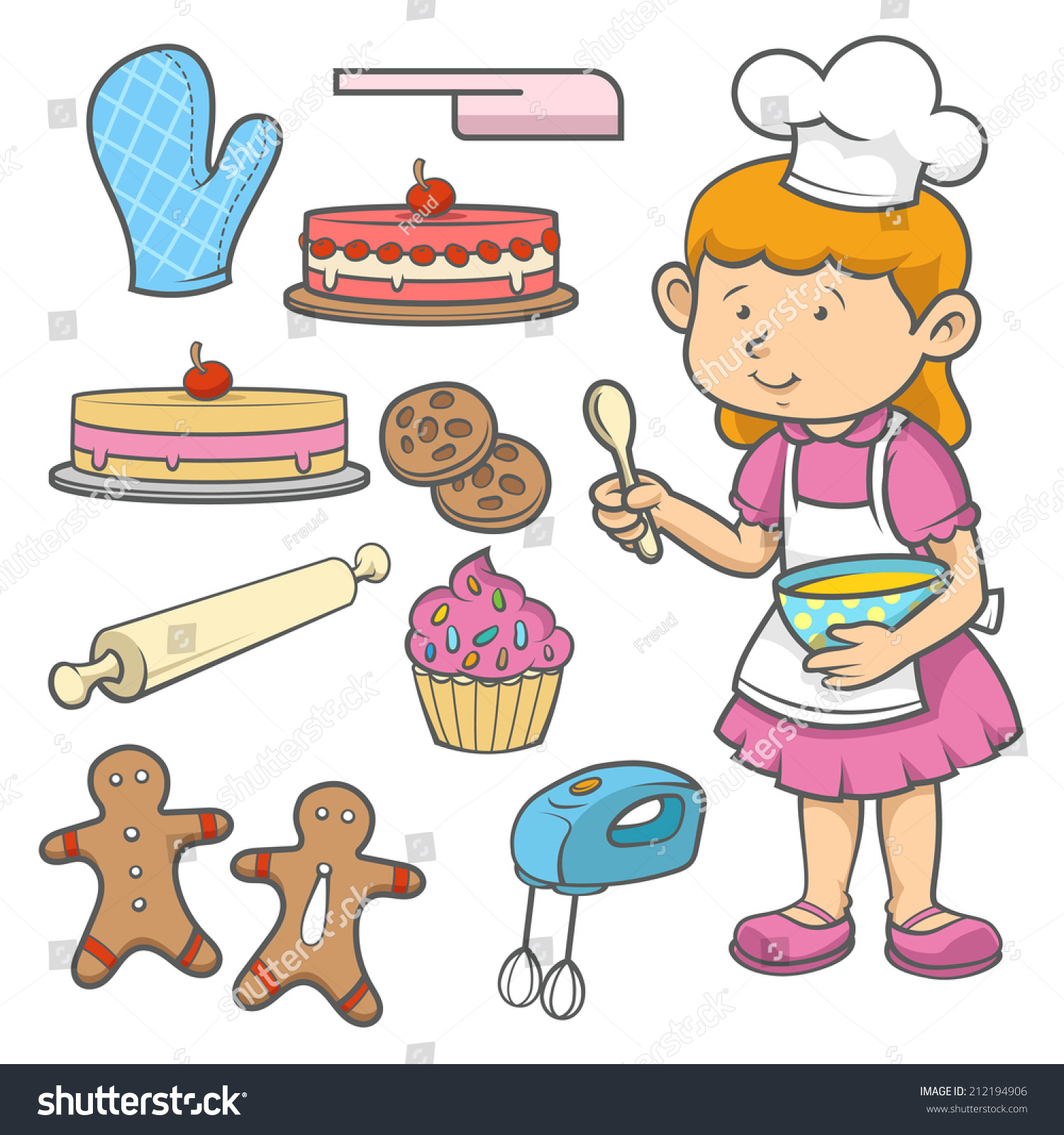 Little Chef Cartoon Illustration Wearing Uniform Cookies And Kitchen Equipment Isolated Over White Background