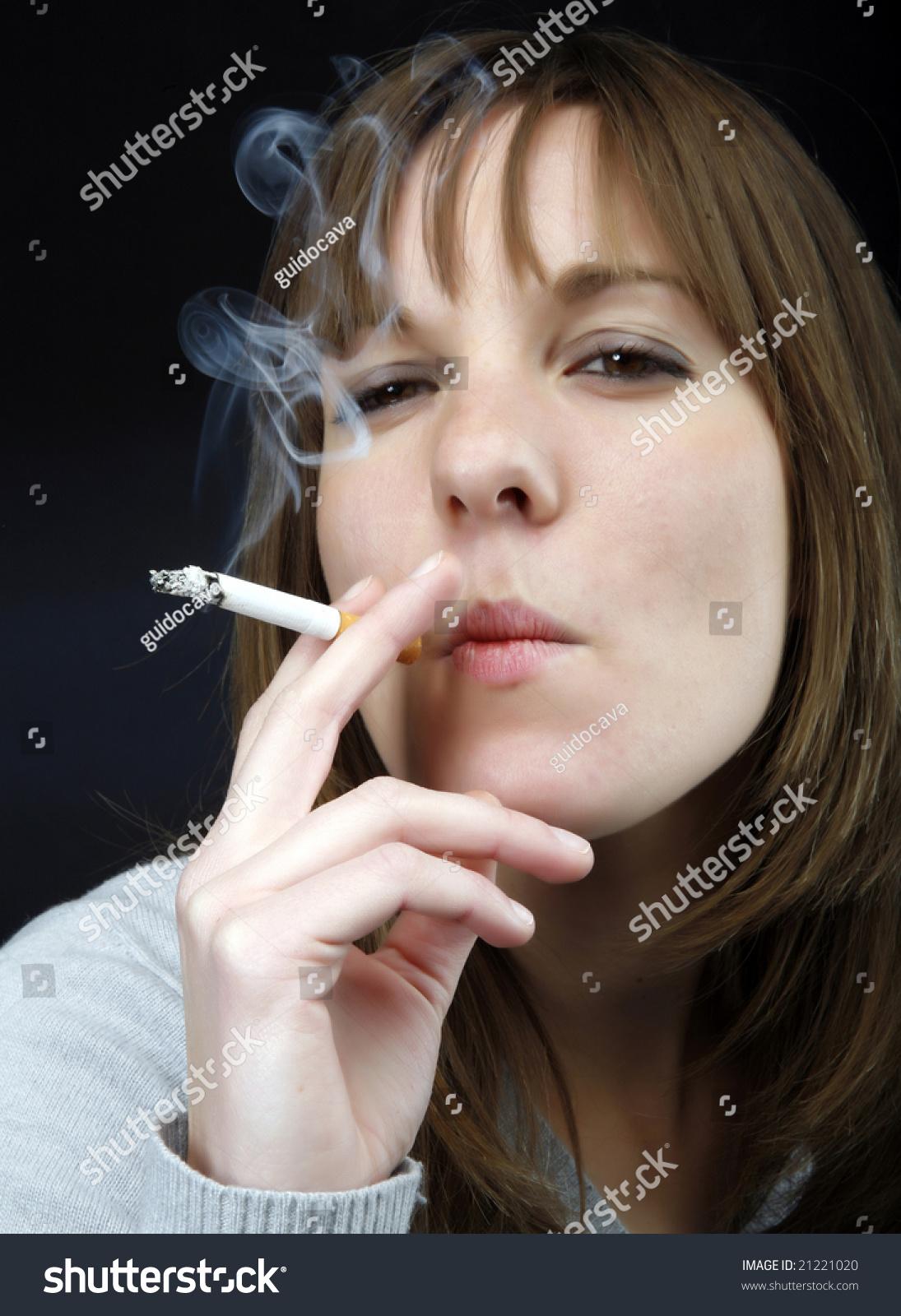 Young Beautiful Girl Smoking Cigarette Stock Photo ...