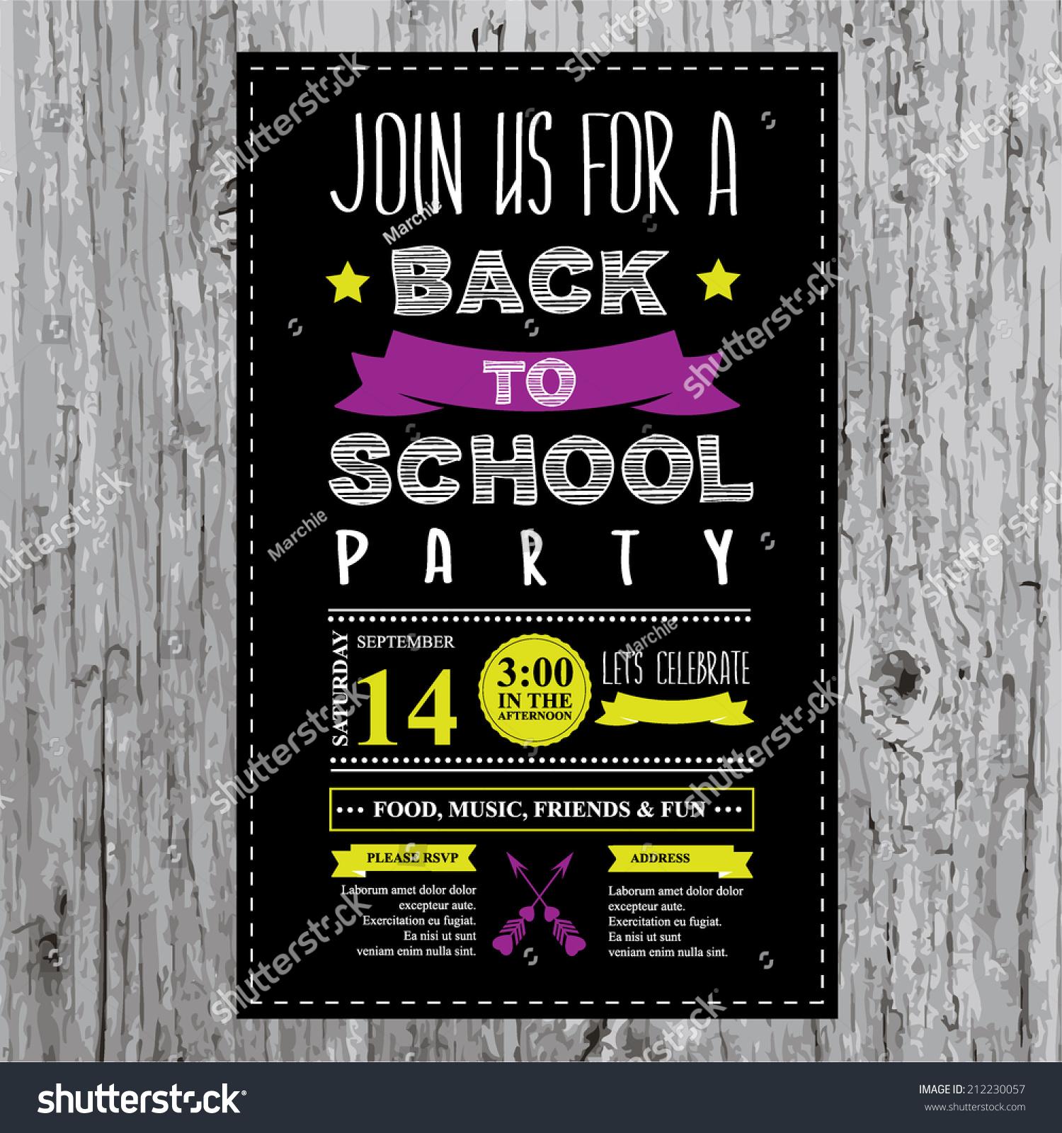 Back School Party Invitation Design Template Stock Vector ...