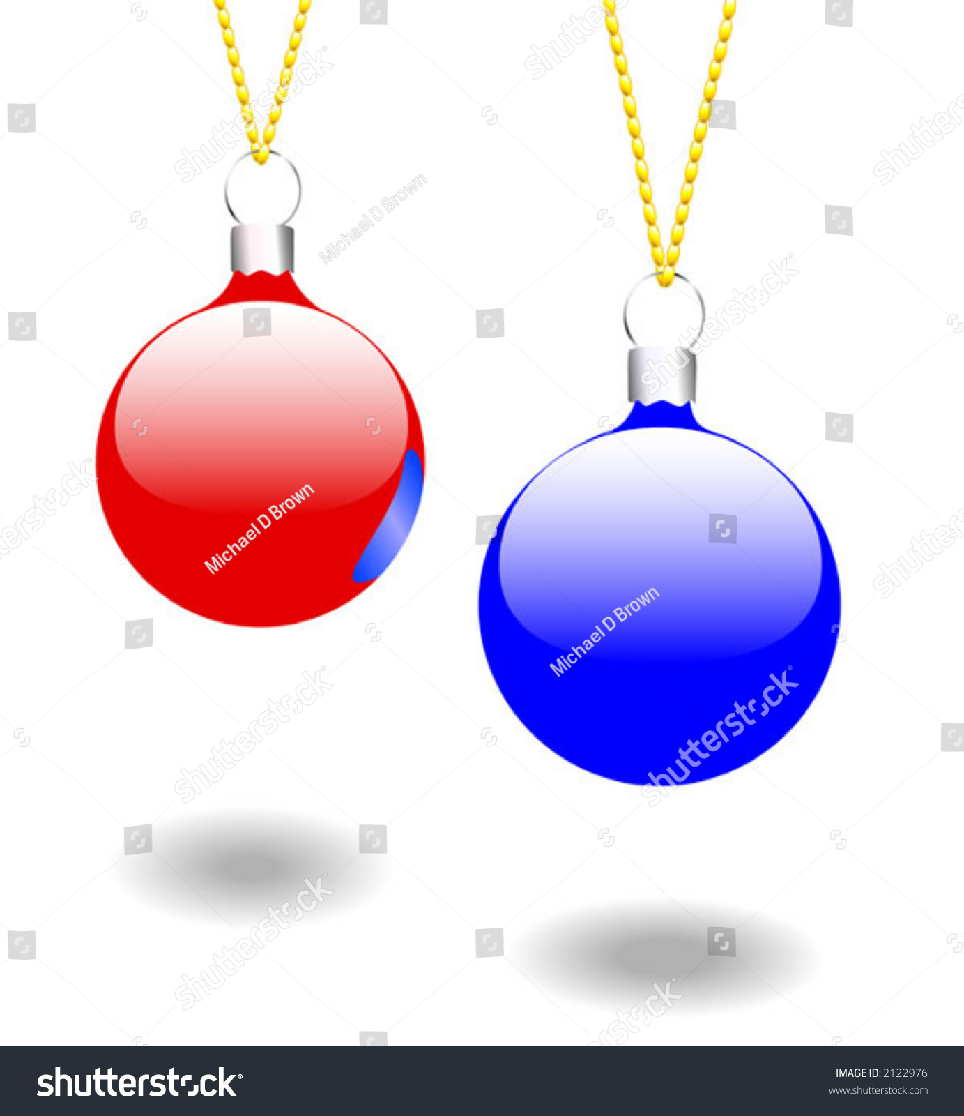 Simple attractive vector christmas ornaments hanging stock for Simple gold ornaments