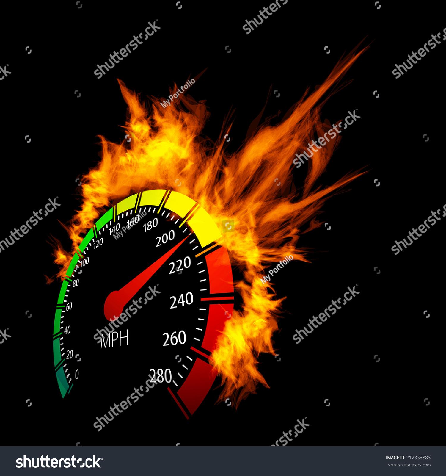burning vector speedometer fire flame illustration stock