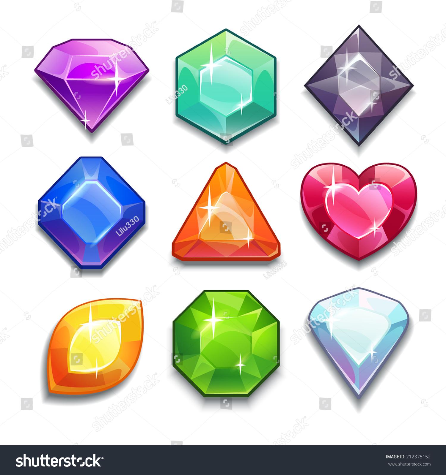 Cartoon Vector Gems Diamonds Icons Set Stock Vector