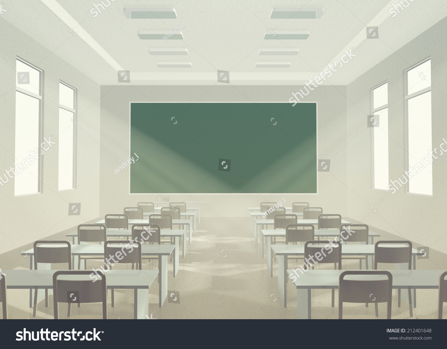 Modern Classroom Lighting ~ Interior of classroom modern light without