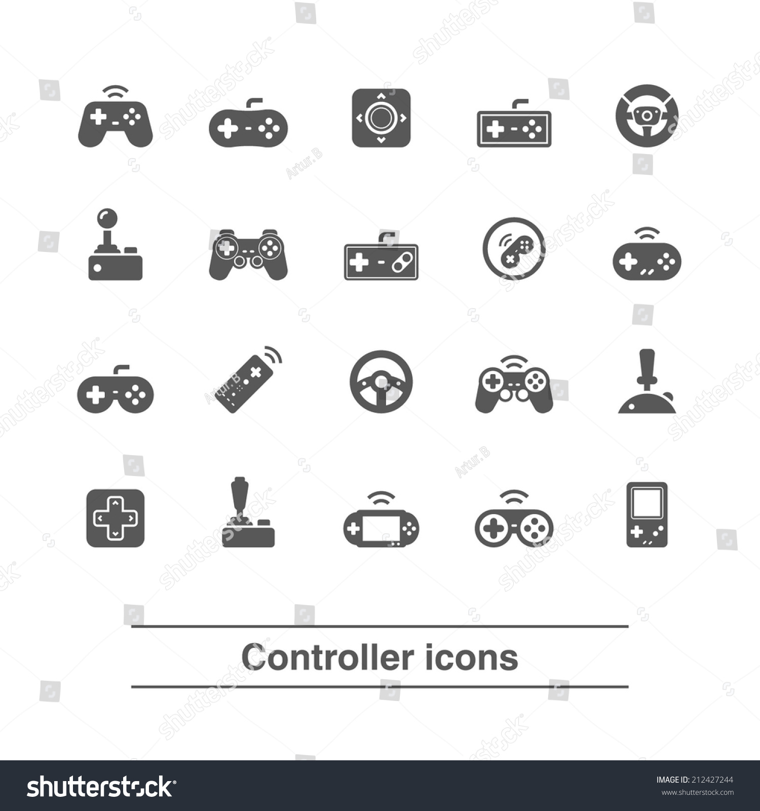 Game Controller Icons Set Stock Vector 212427244 ...