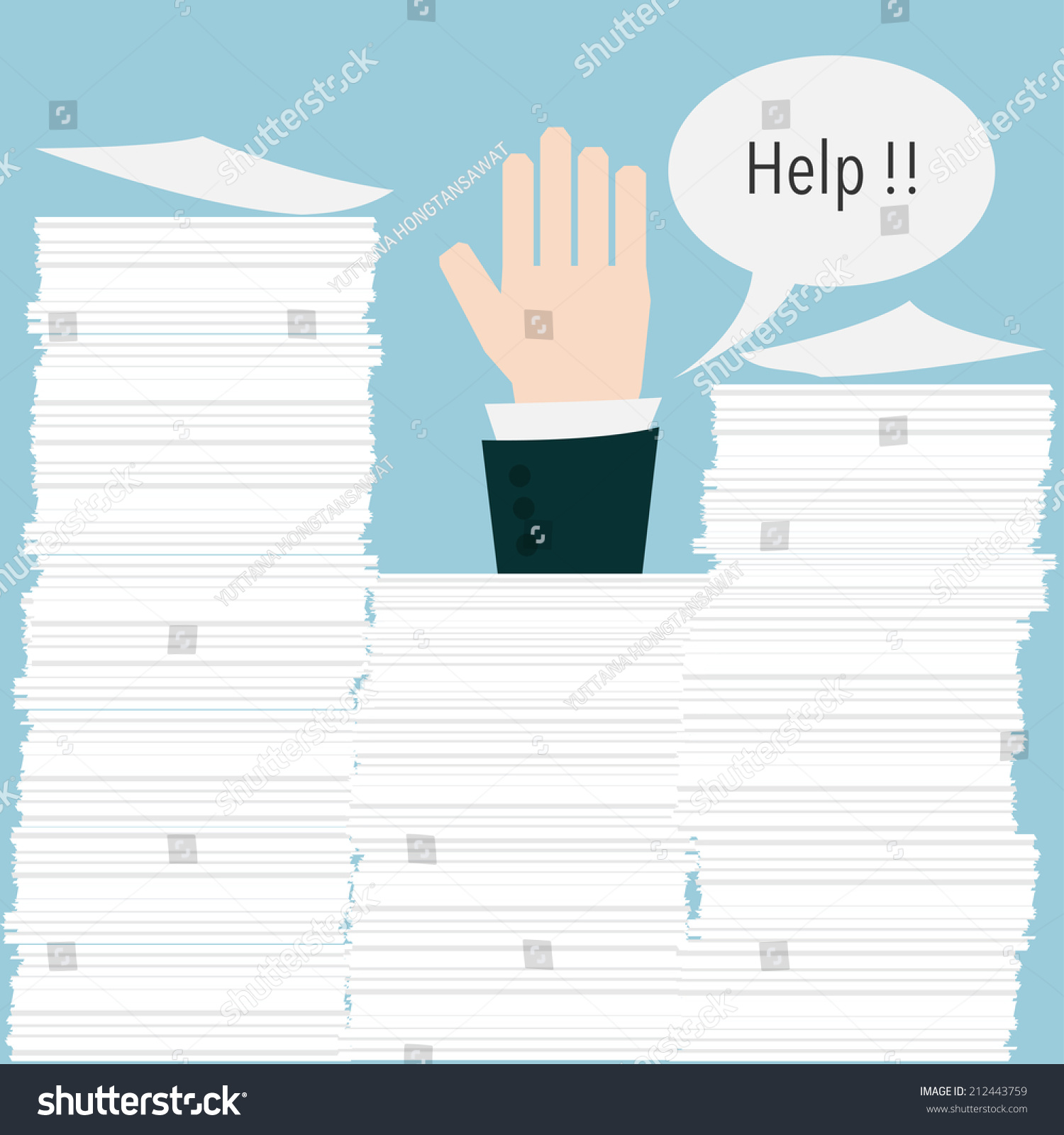 businessman need help under a lot of paper stock vector save to a lightbox