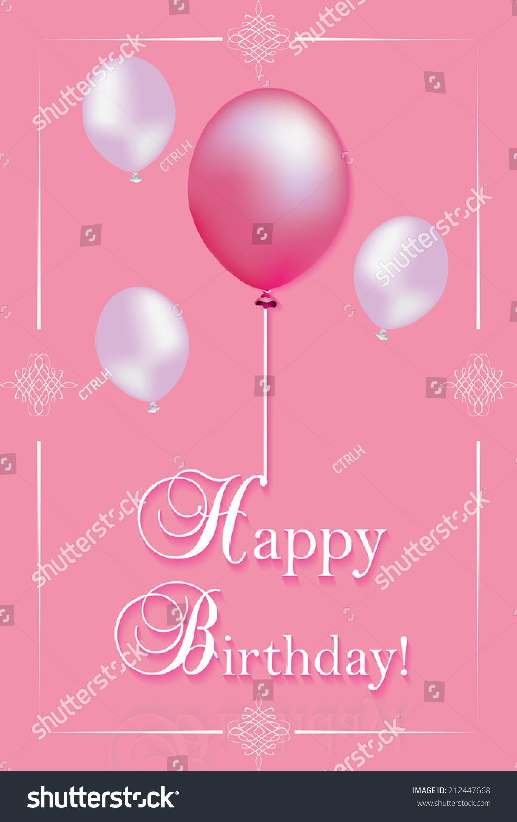 Pink birthday card print printable birthday stock vector 212447668 pink birthday card for print printable birthday greeting card with balloons and text decorations kristyandbryce Gallery