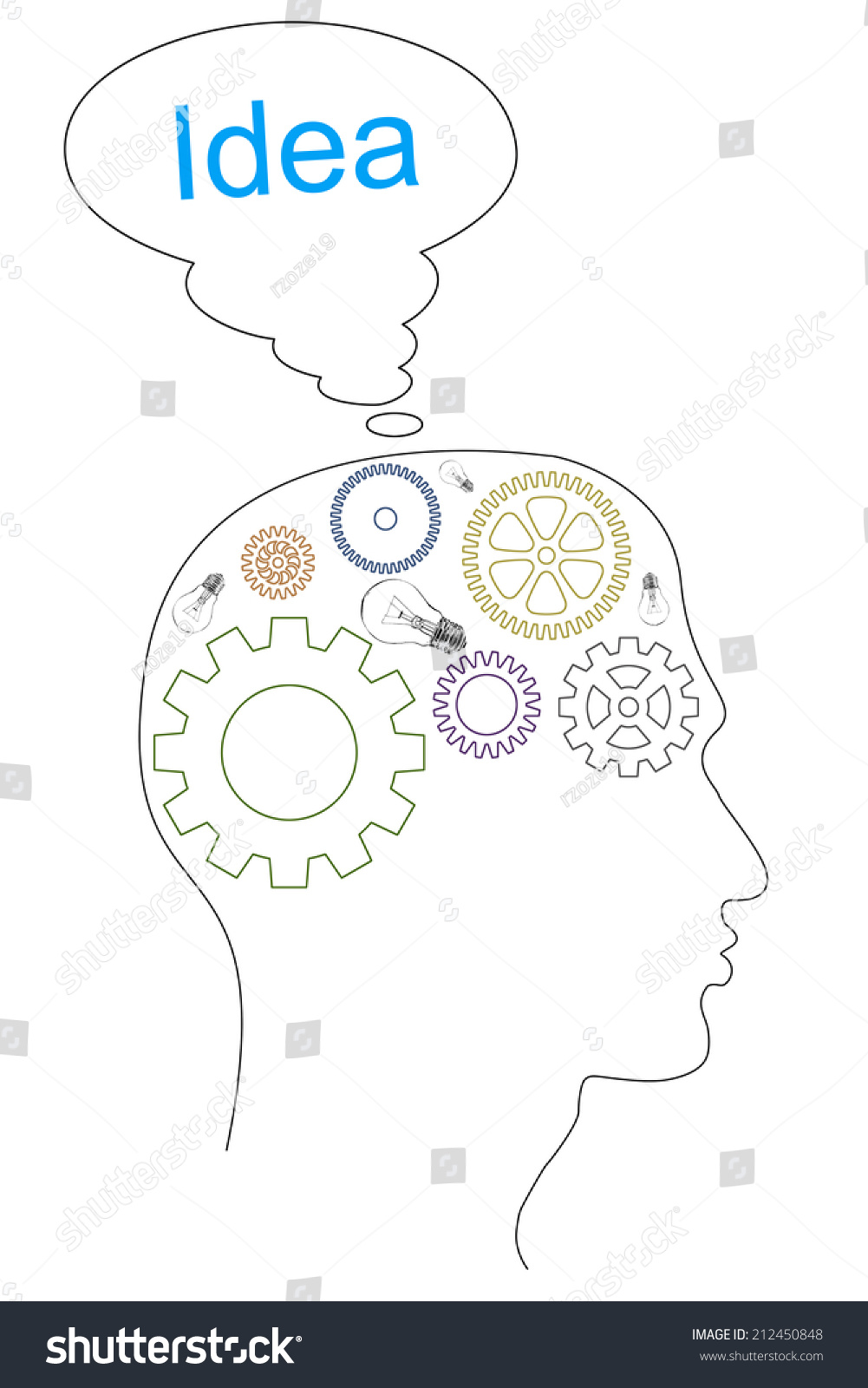 stock photo brain gears in human head shape on white background 212450848 brain gears human head shape on stock illustration royalty free