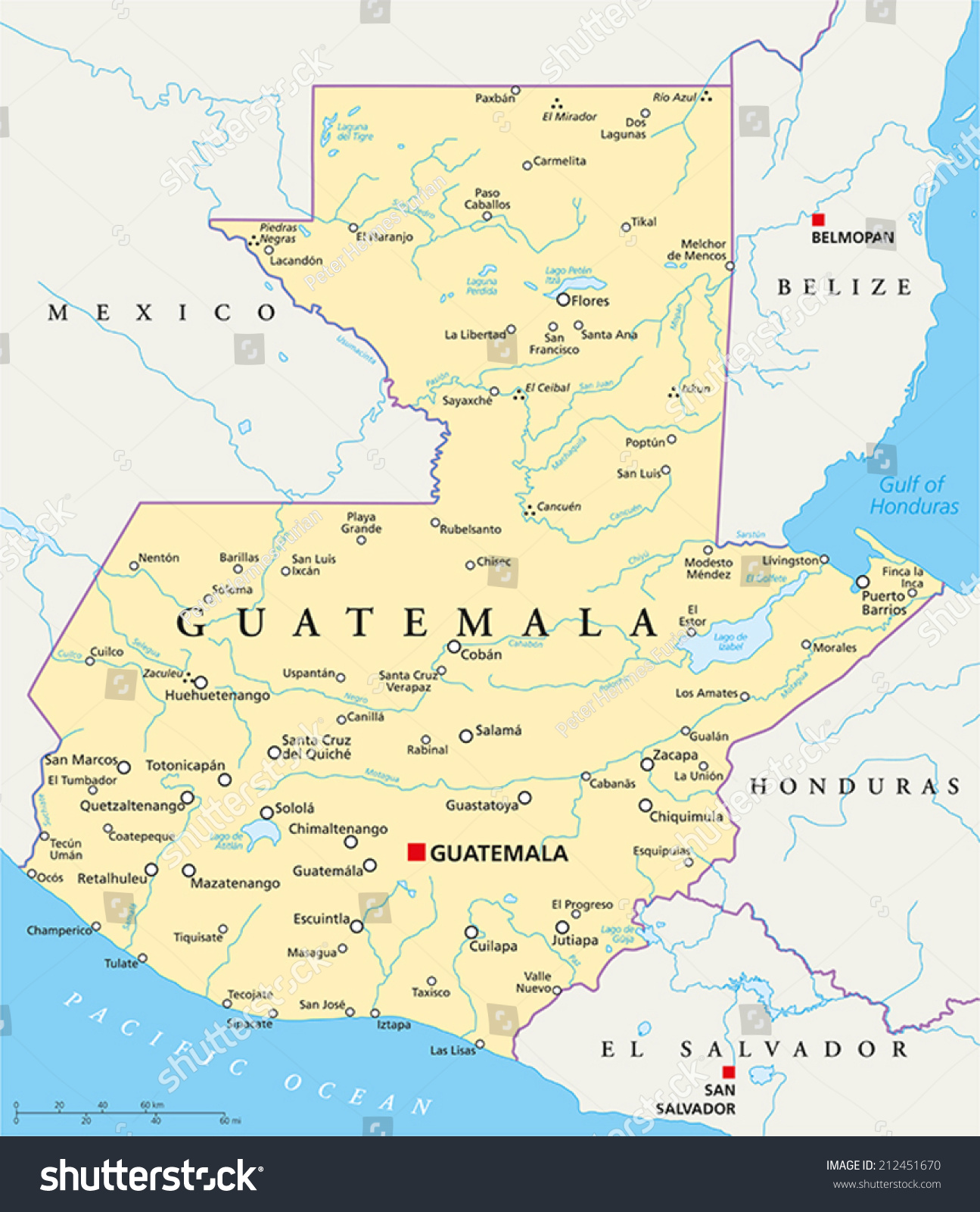 Guatemala Political Map Capital Guatemala City Stock Vector - Map of united states with rivers labeled