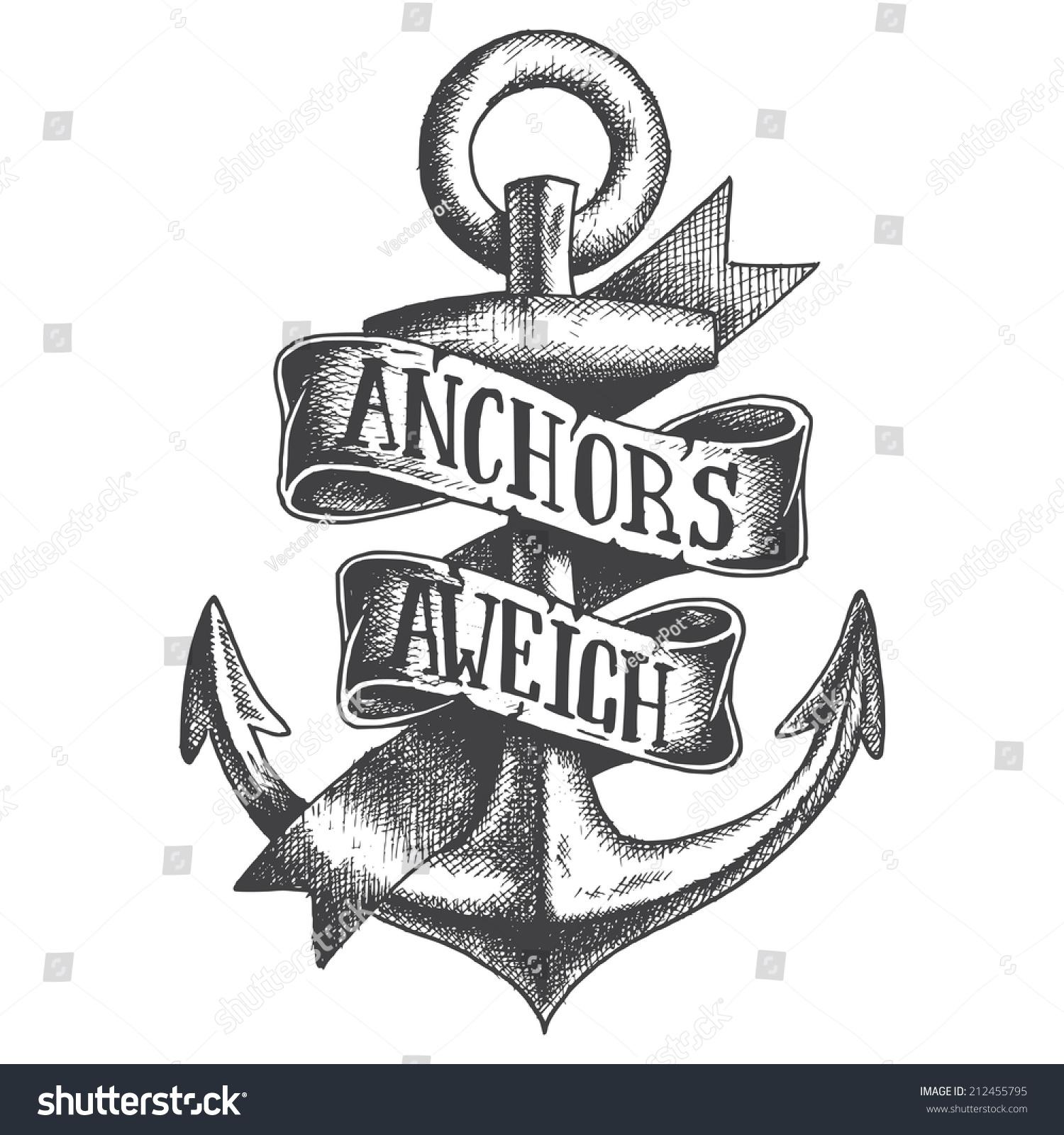 Hand Drawn Anchor Ribbon Stock Vector 212455795 - Shutterstock