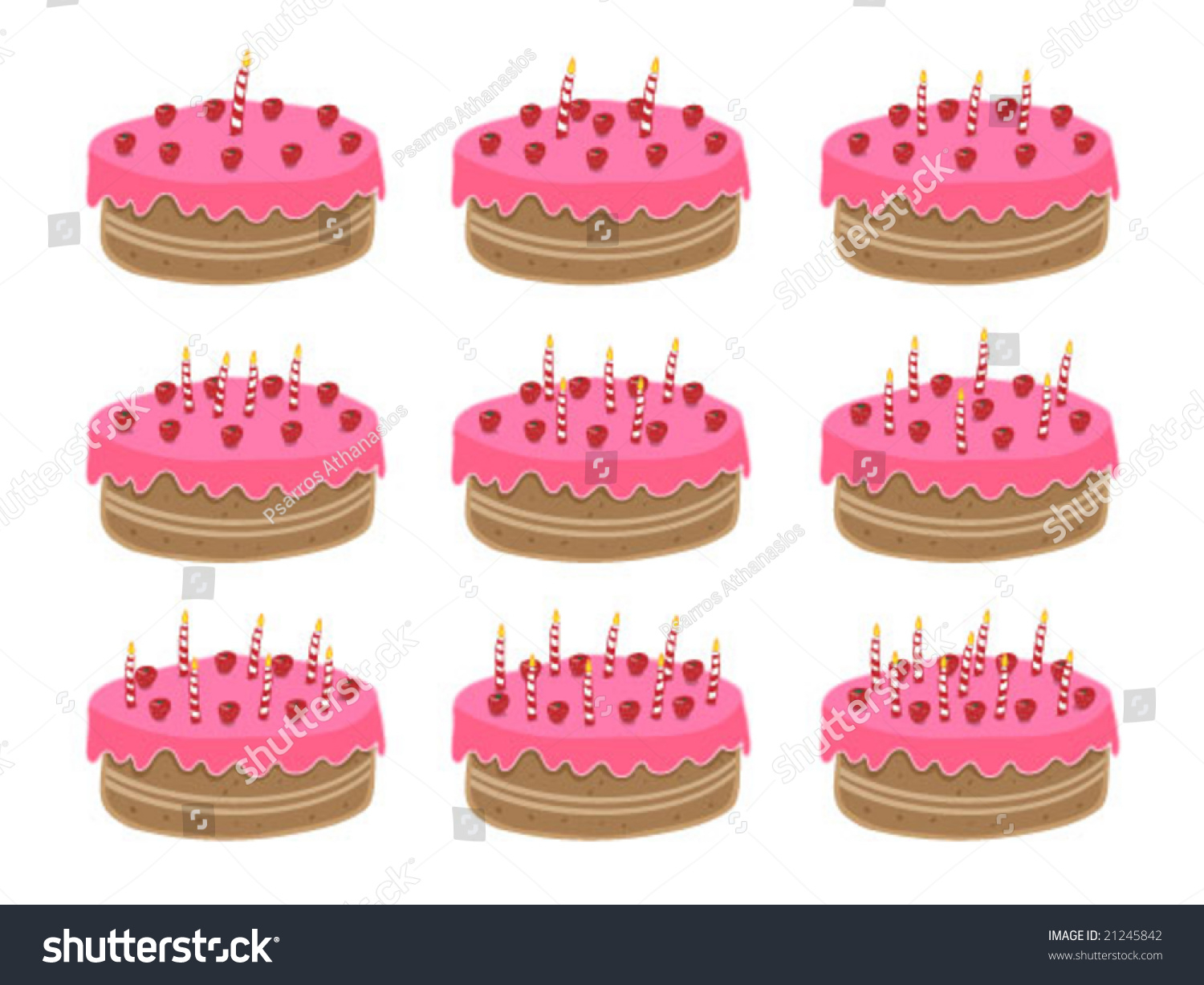 Birthday Cake One Year Old Nine Stock Vector Royalty Free 21245842