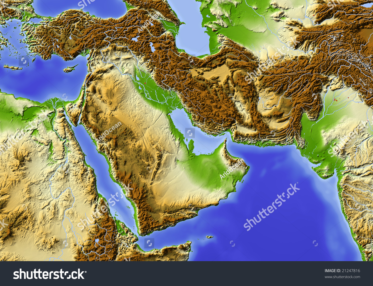 Near East Egypt Pakistan Shaded Relief Stock Illustration - Map of egypt elevation