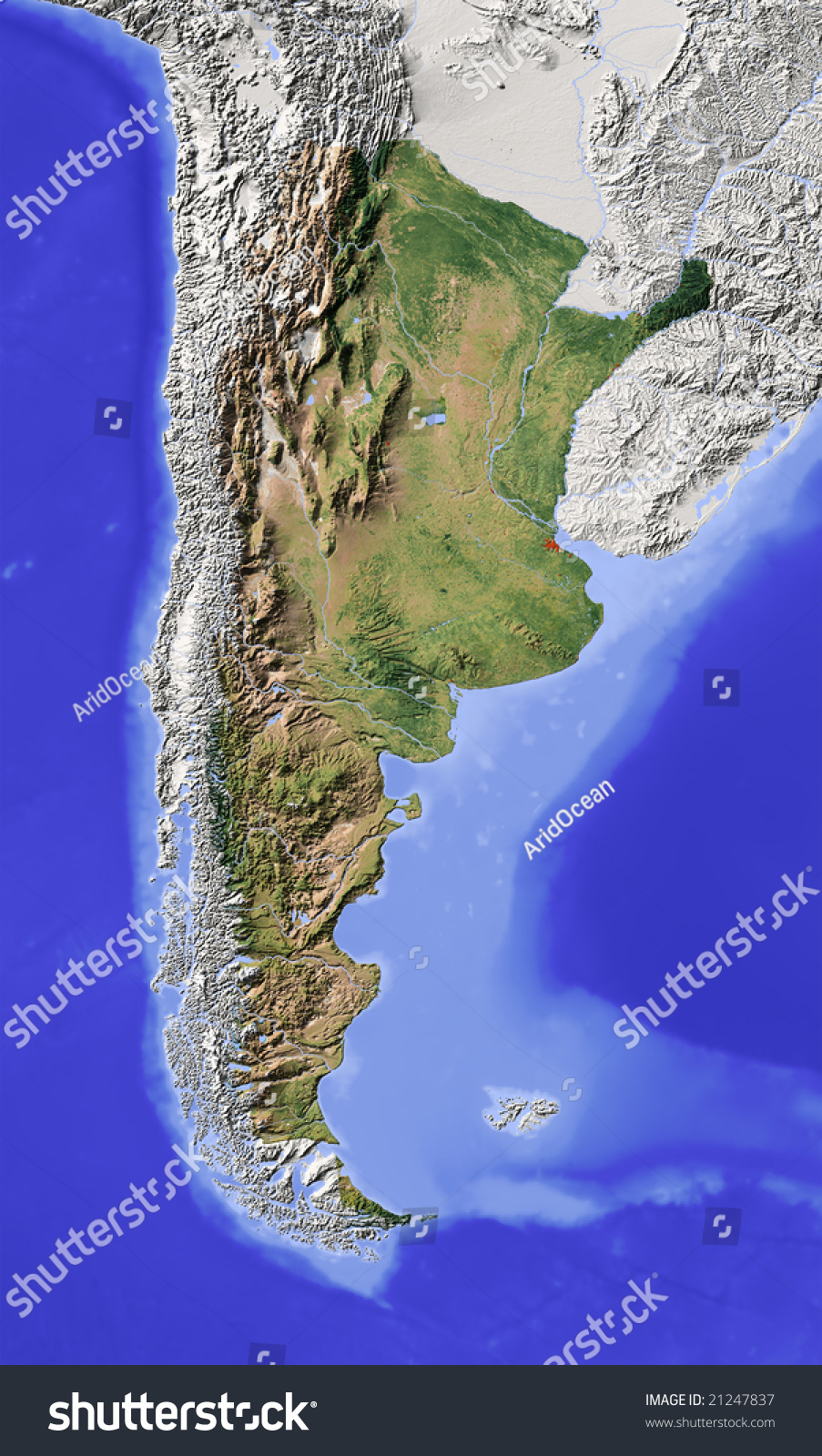 Argentina Shaded Relief Map Major Urban Stock Illustration - Argentina vegetation map