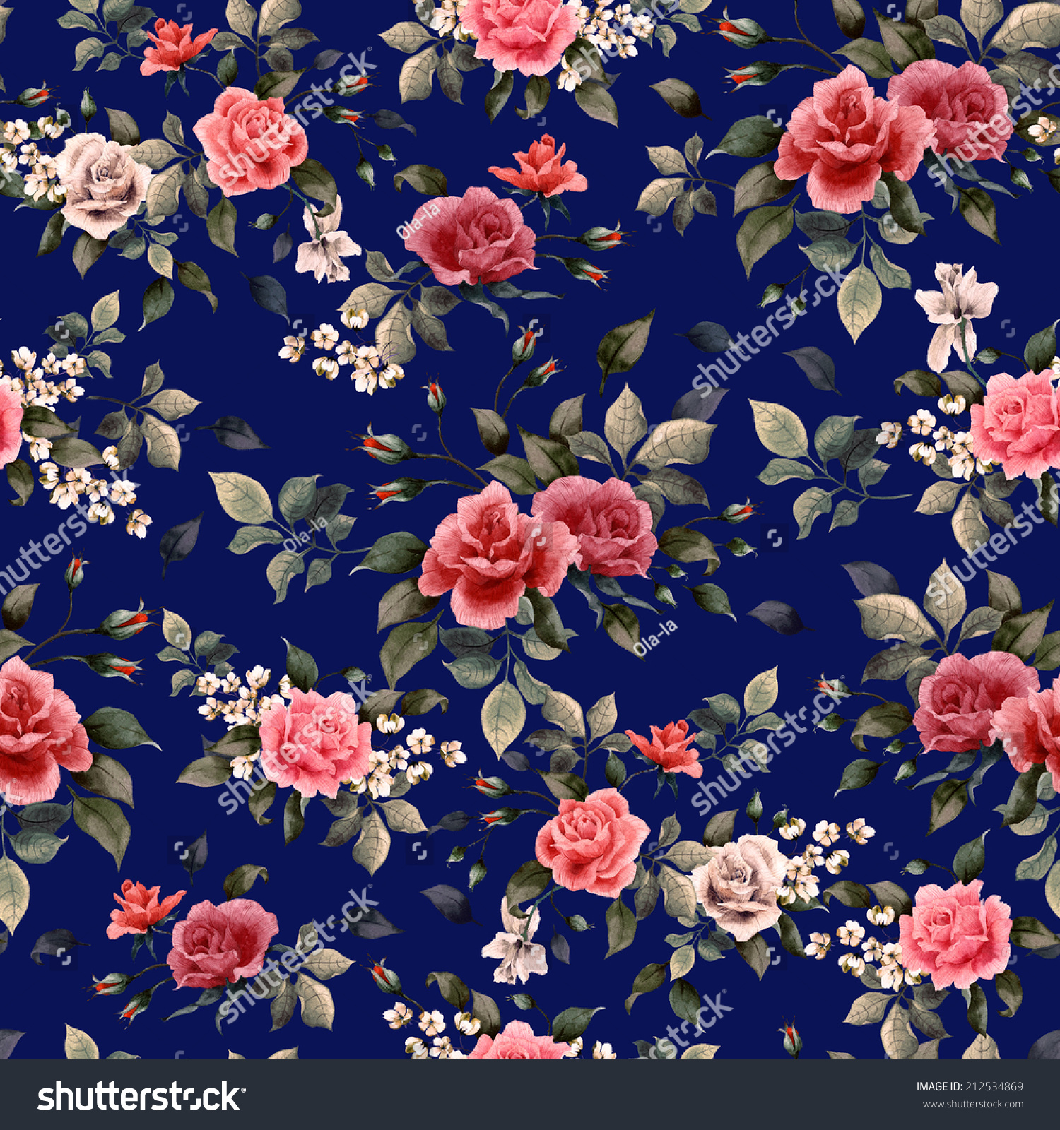 Seamless Floral Pattern Red White Pink 212534869