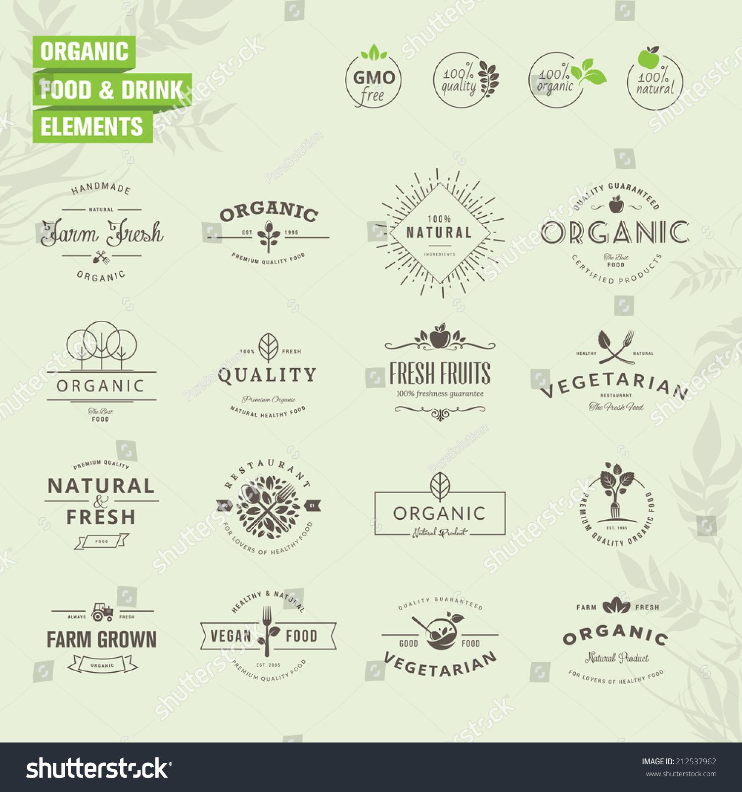 Set Badges Labels Elements Organic Food Stock Vector